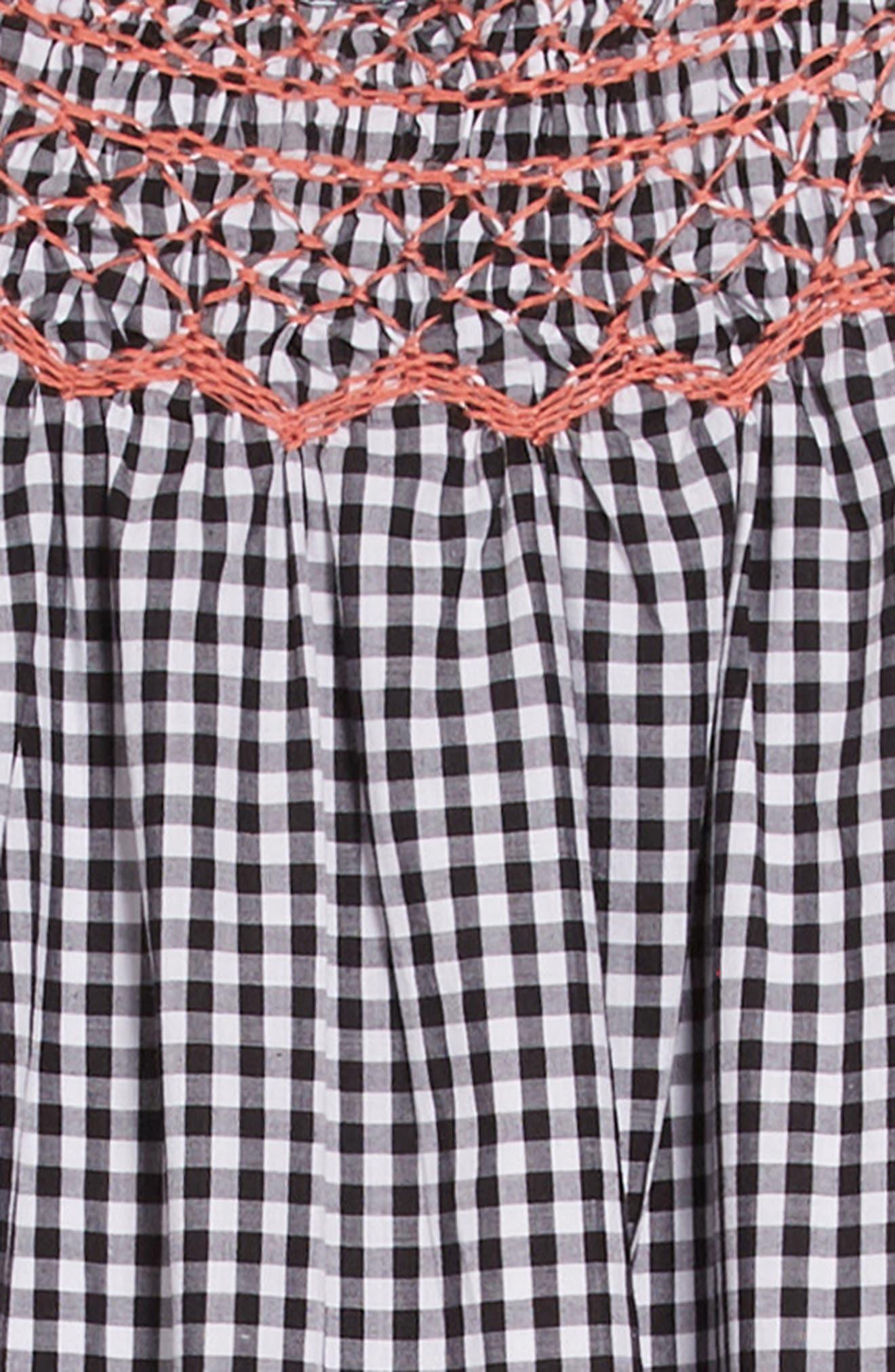 Gingham Smocked Dress,                             Alternate thumbnail 3, color,                             WHITE- BLACK GINGHAM
