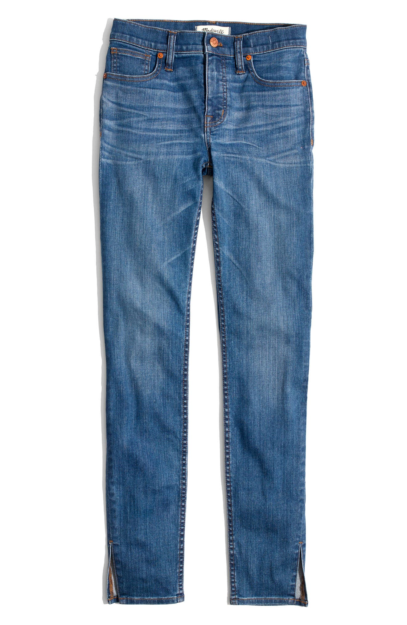 MADEWELL,                             9-Inch High-Rise Skinny Jeans: Side-Slit Edition,                             Alternate thumbnail 5, color,                             400