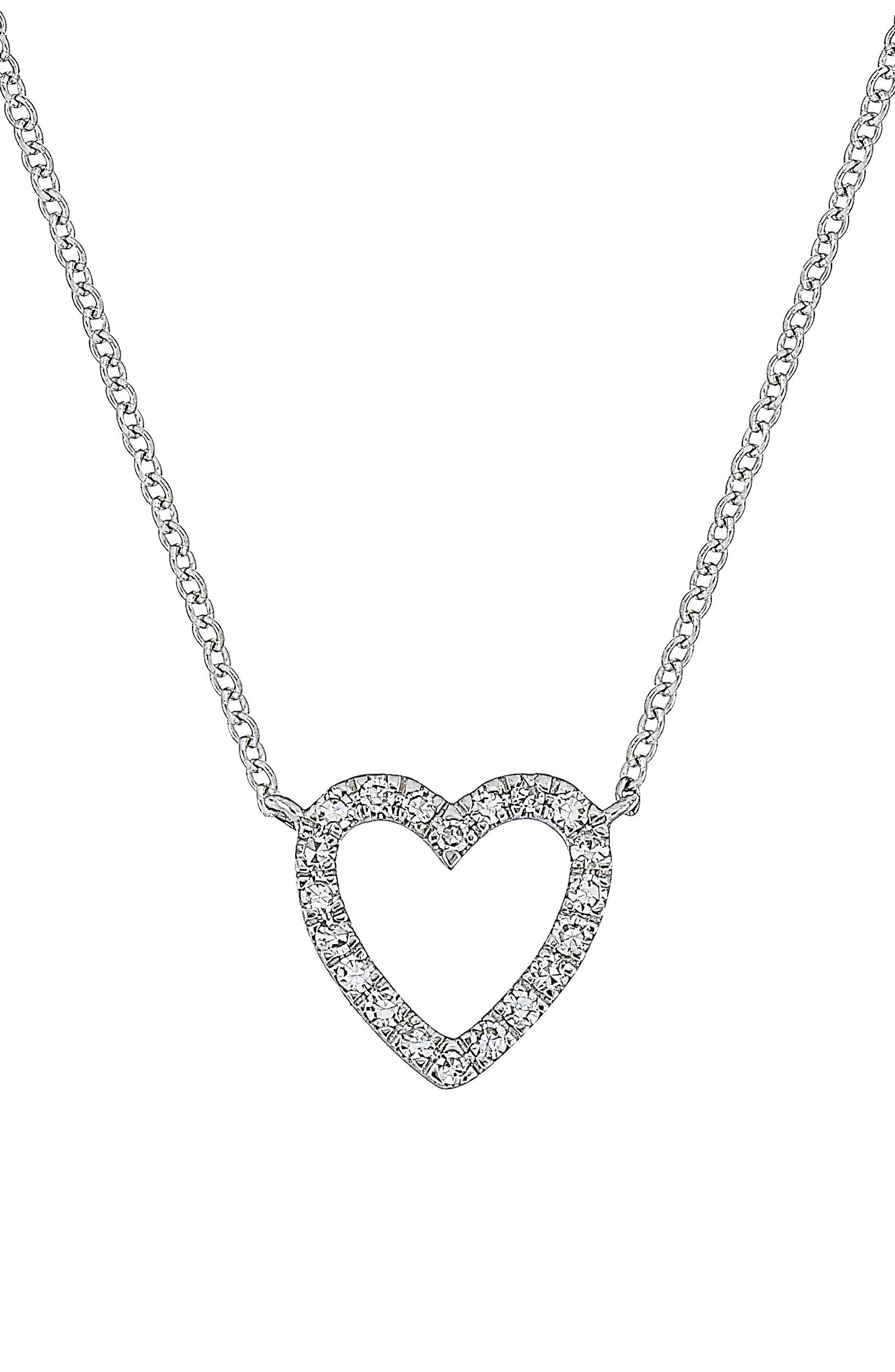 Carrière Open Heart Diamond Pendant Necklace,                             Main thumbnail 1, color,                             SILVER/ DIAMOND