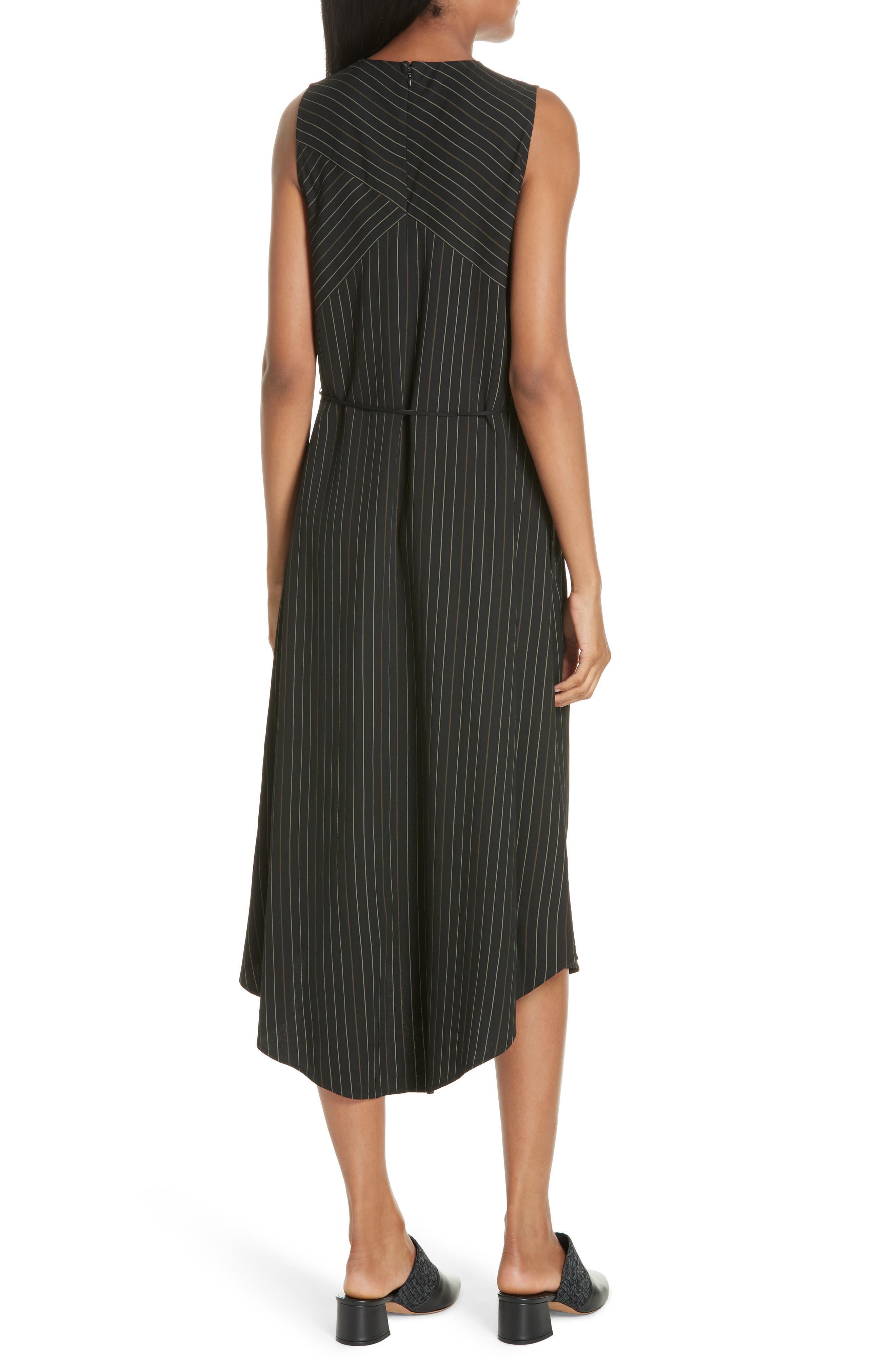 Bar Stripe Paneled Dress,                             Alternate thumbnail 2, color,                             BLACK