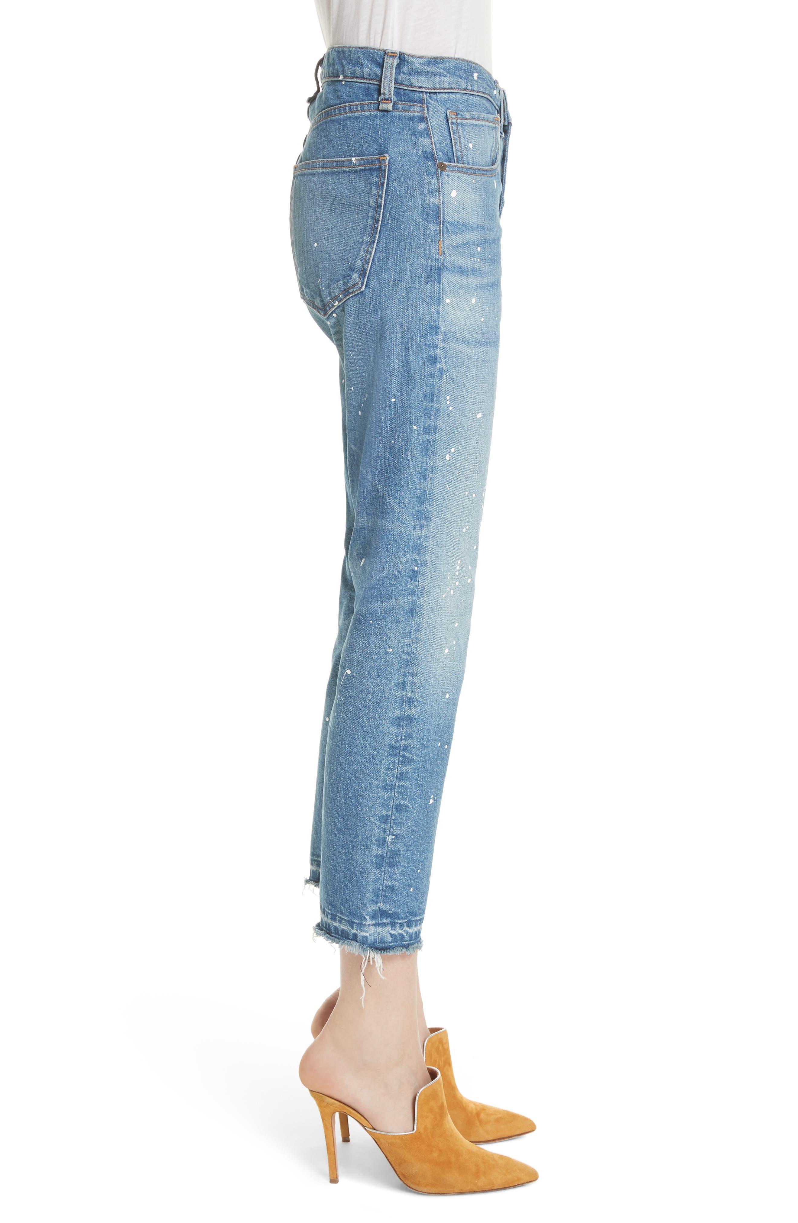 Ines Paint Splatter Crop Girlfriend Jeans,                             Alternate thumbnail 3, color,                             PIPELINE
