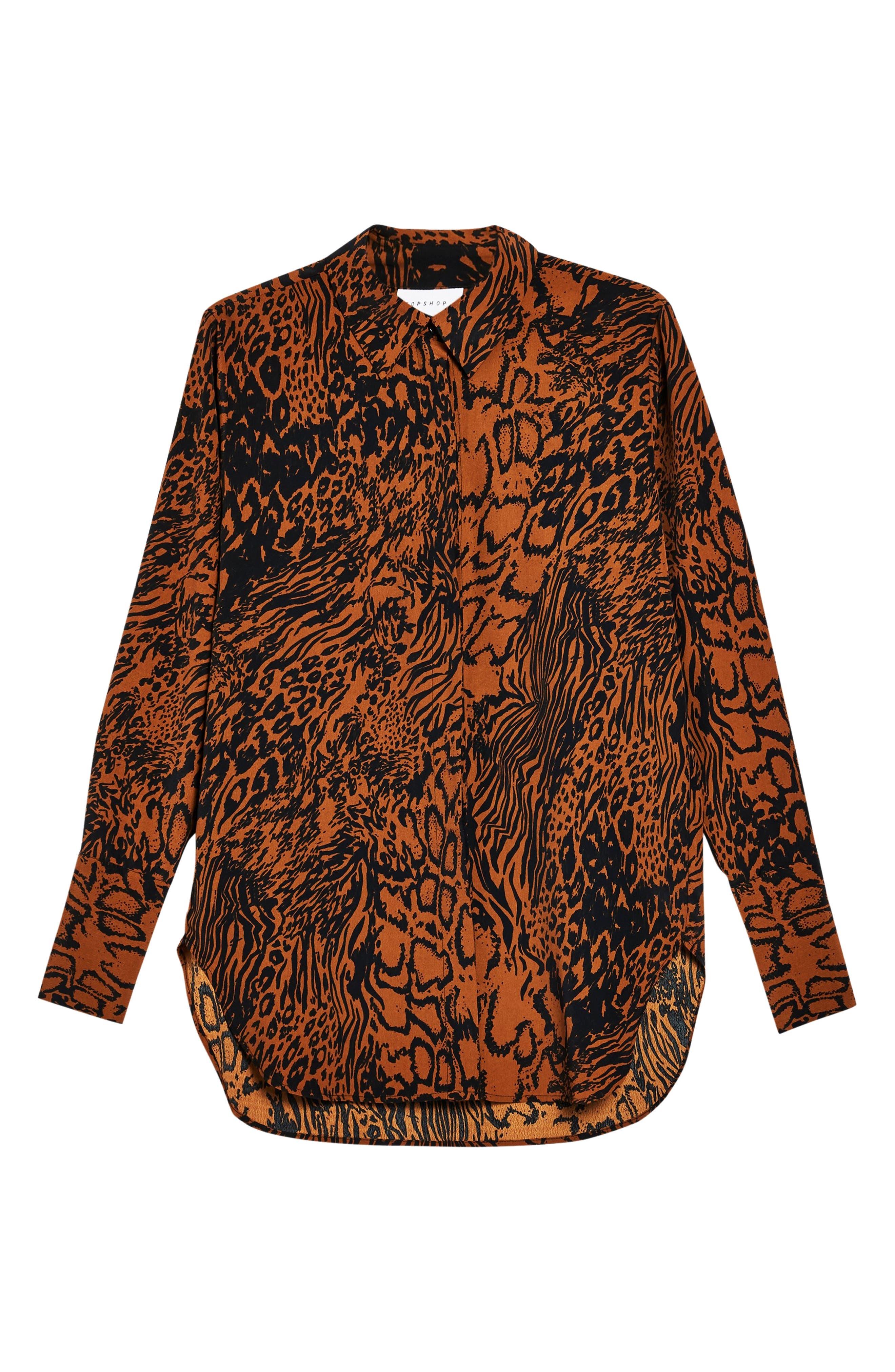 Mensy Snake Print Shirt,                             Alternate thumbnail 3, color,                             BROWN MULTI