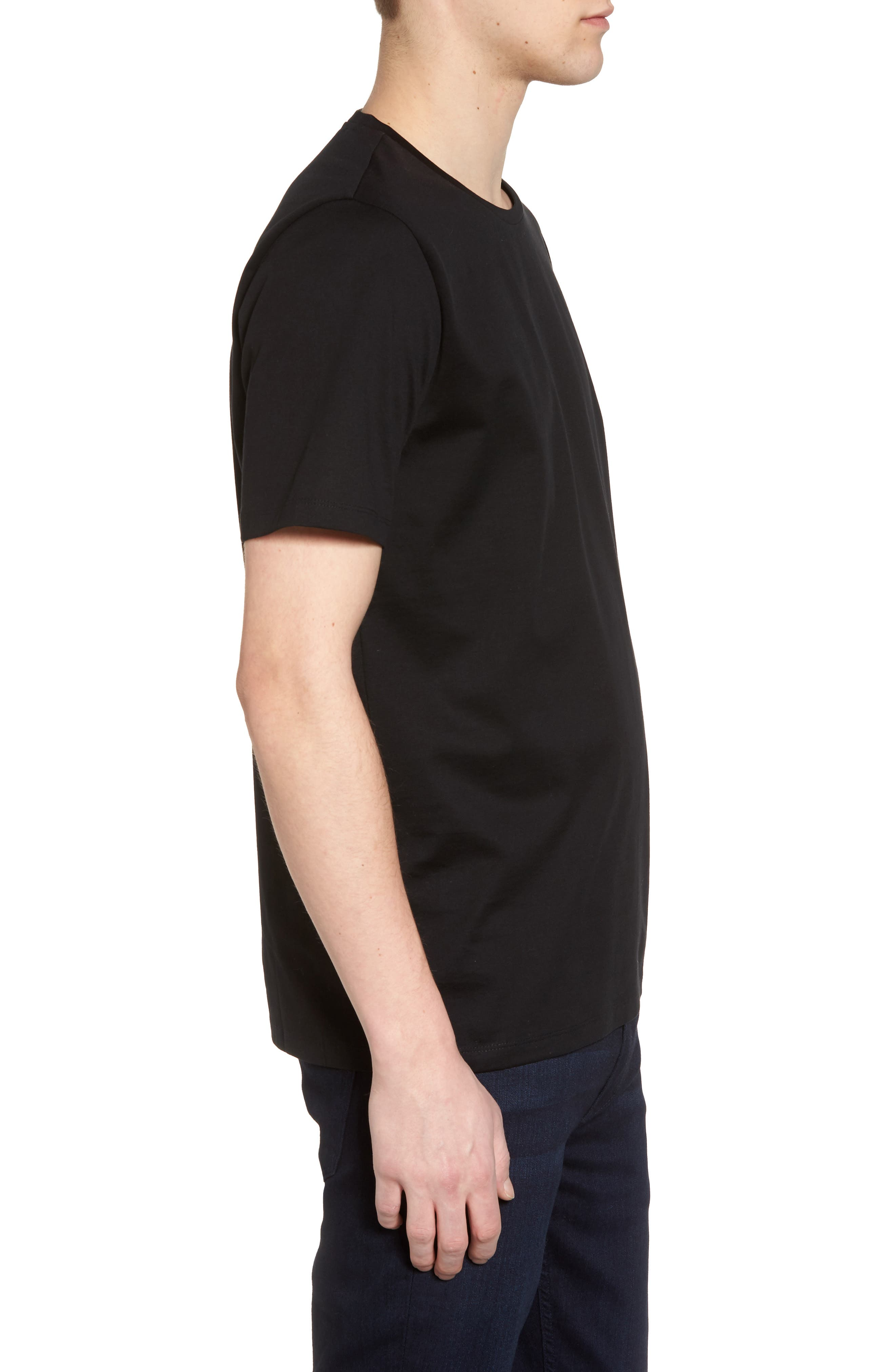 Mercerized Cotton Crewneck T-Shirt,                             Alternate thumbnail 3, color,                             001