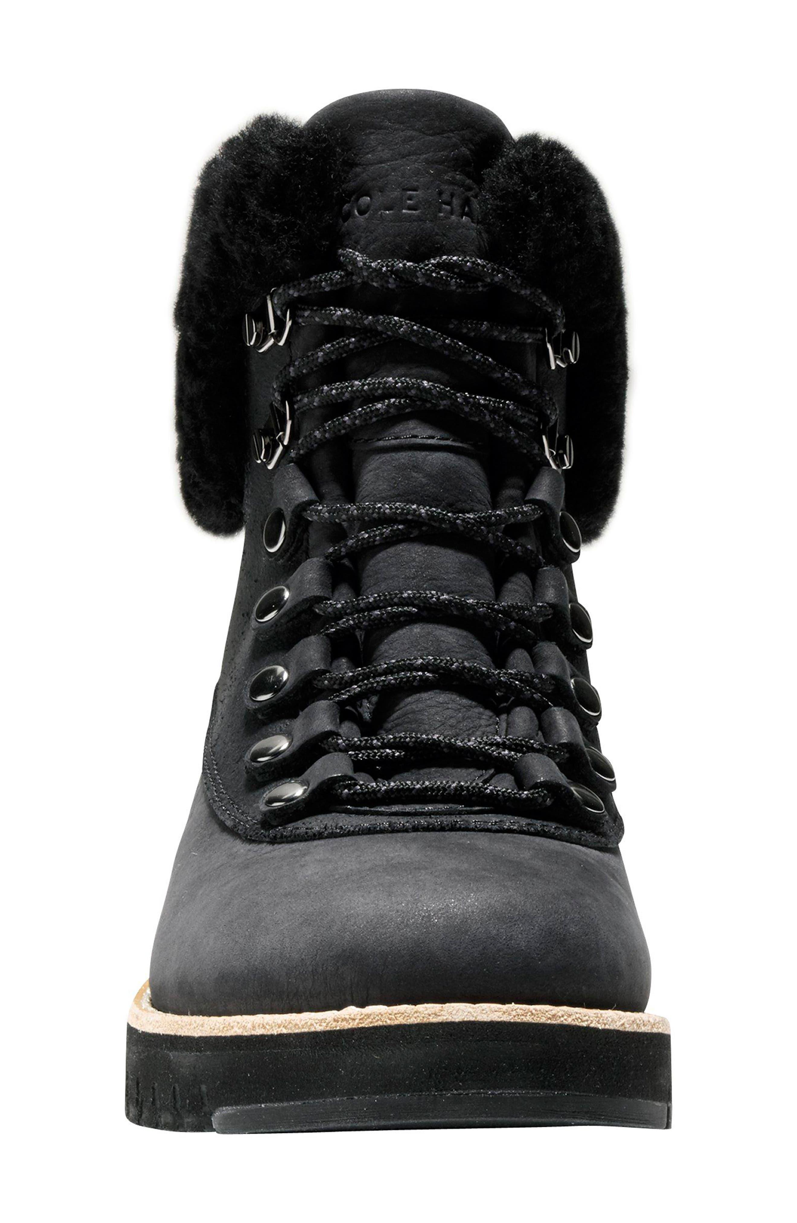 GrandExpløre Genuine Shearling Trim Waterproof Hiker Boot,                             Alternate thumbnail 4, color,                             BLACK LEATHER