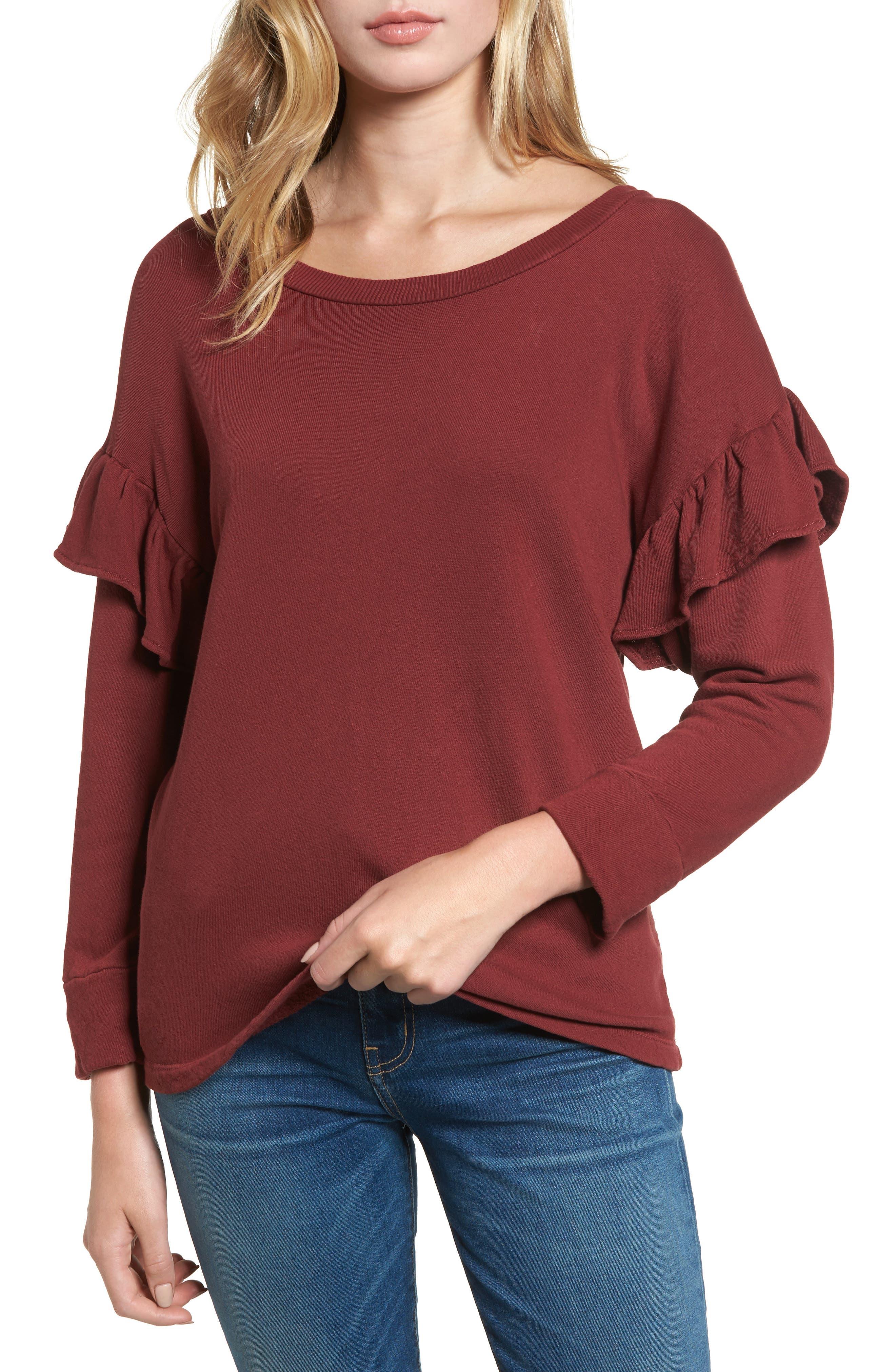 The Ruffle Sweatshirt,                             Main thumbnail 1, color,                             601