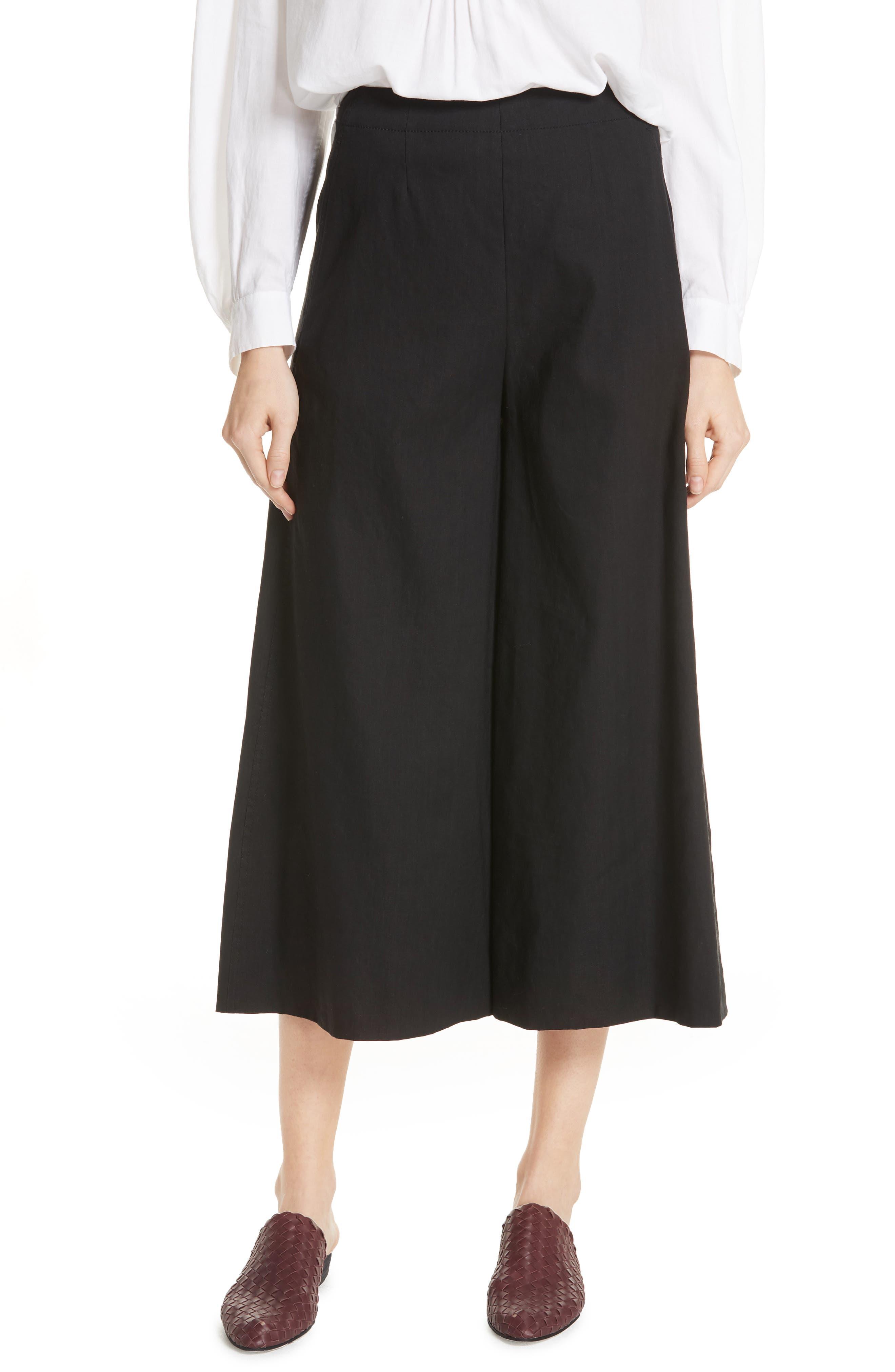 High Rise Linen Blend Culottes,                             Main thumbnail 1, color,                             001