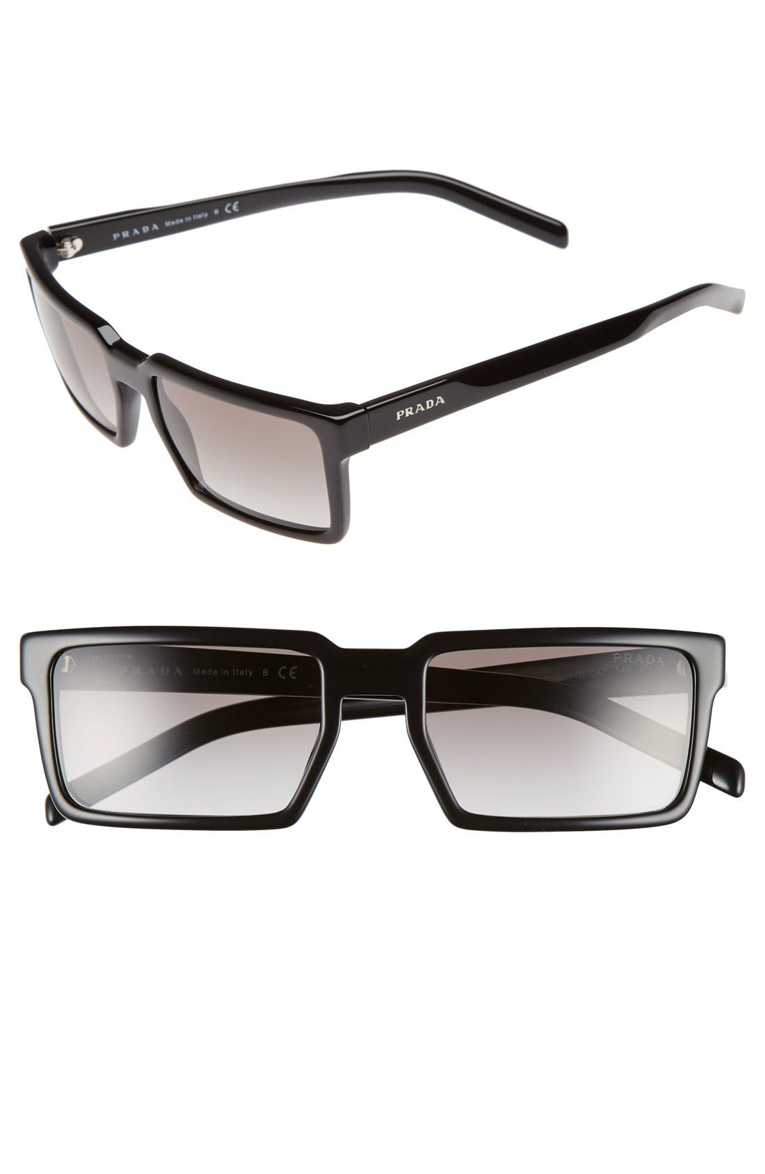 54mm Rectangular Sunglasses,                             Main thumbnail 1, color,                             001