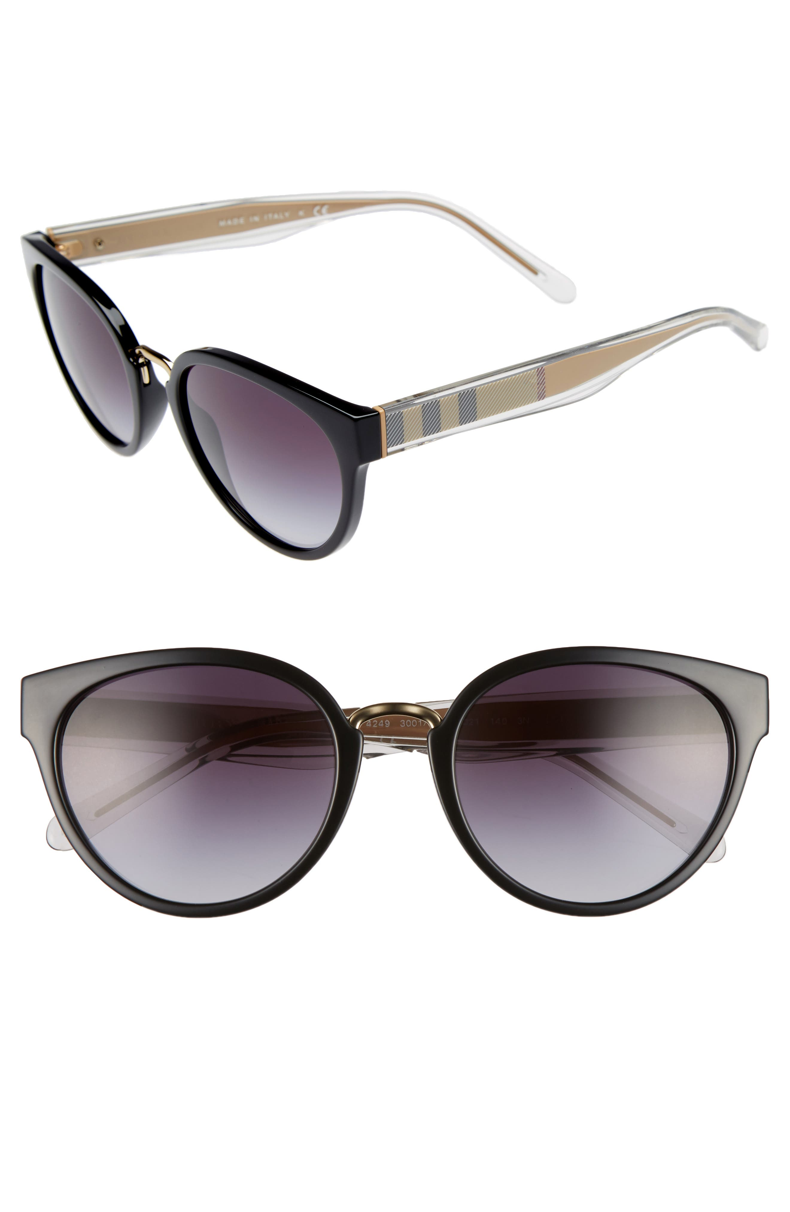 53mm Gradient Cat Eye Sunglasses,                             Main thumbnail 1, color,                             001