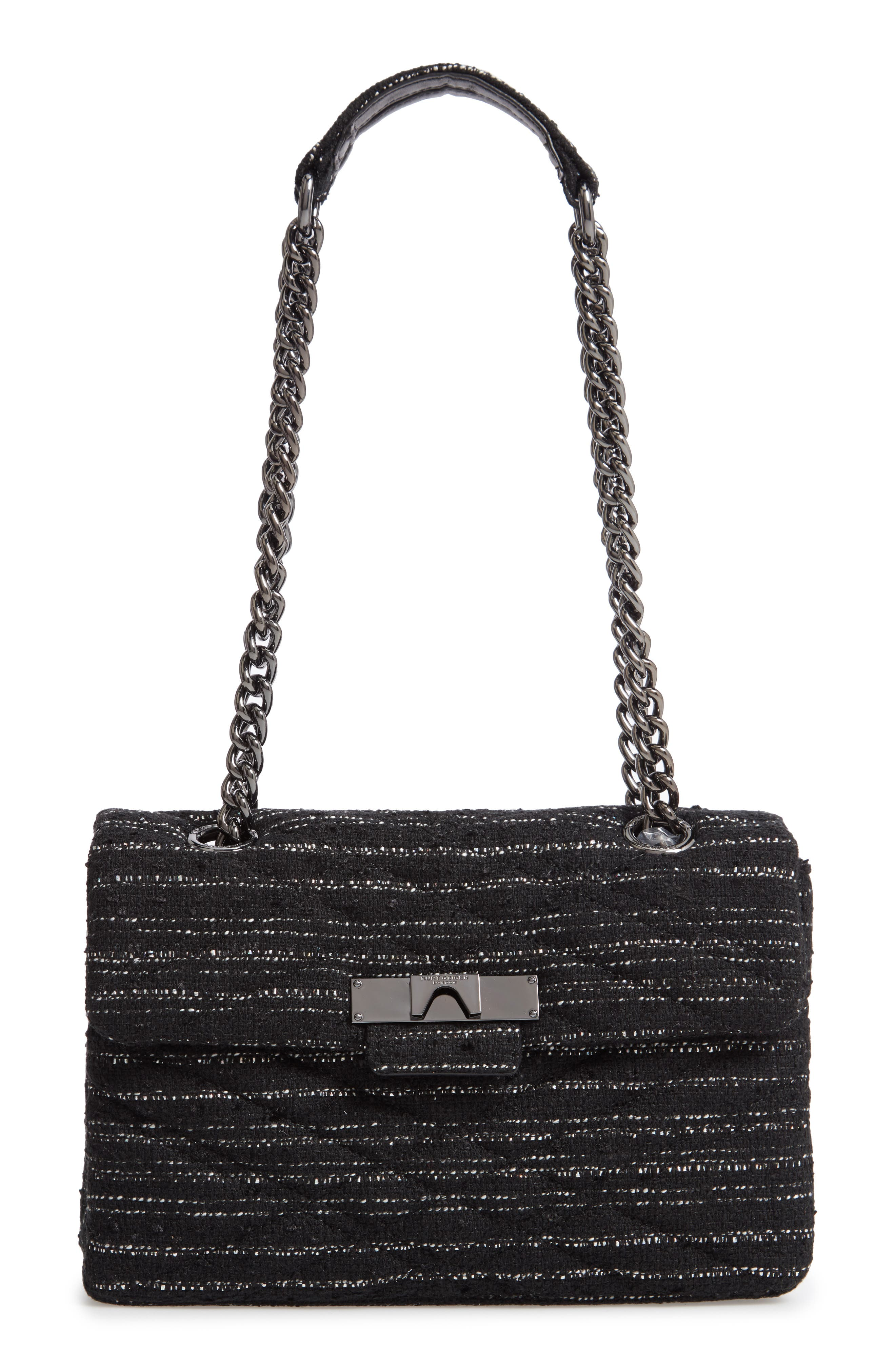 Mayfair Quilted Tweed Shoulder Bag,                             Main thumbnail 1, color,                             BLACK