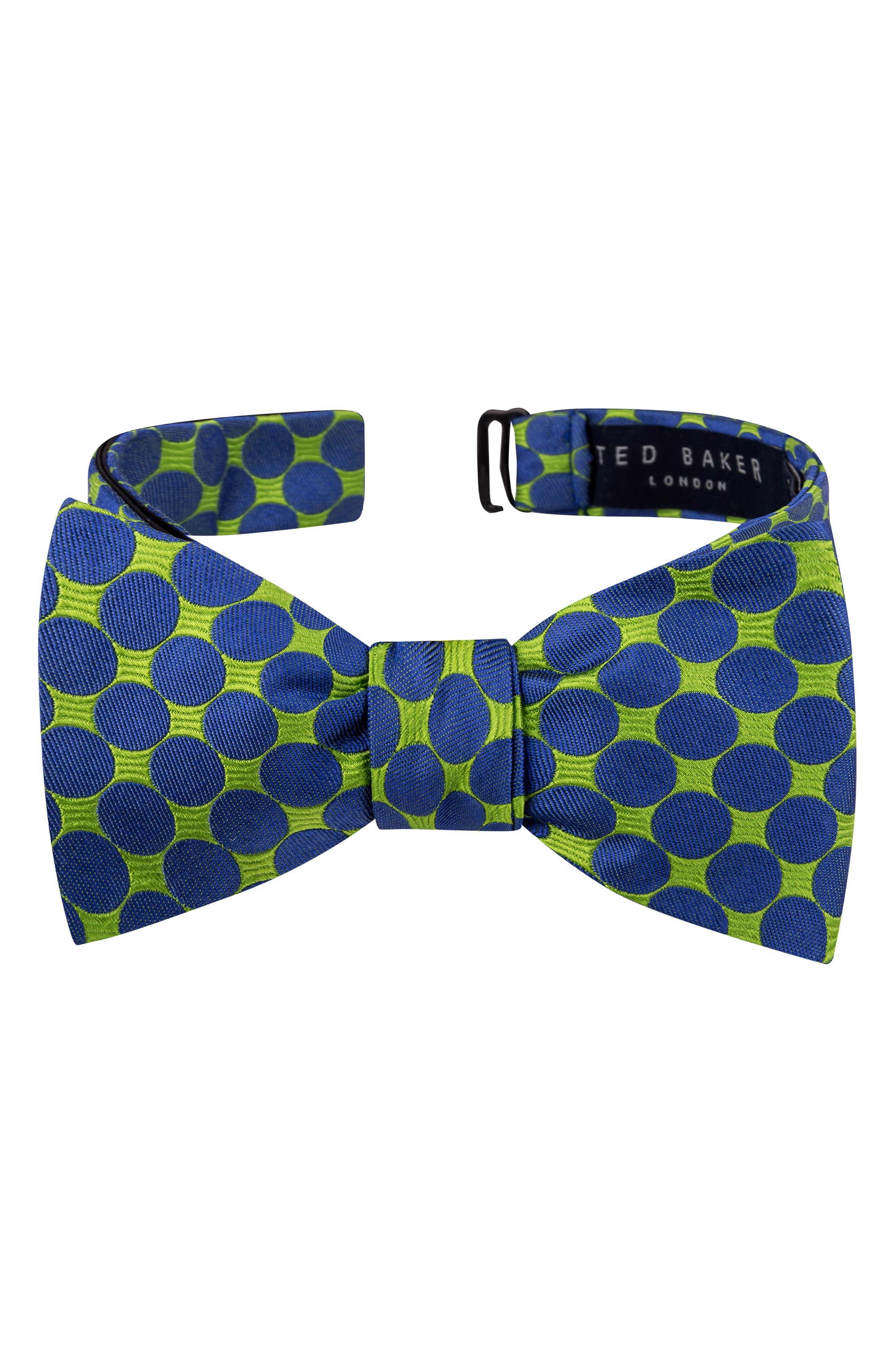 1960s – 70s Men's Ties | Skinny Ties, Slim Ties Mens Ted Baker London Circles Silk Bow Tie Size Regular - Green $59.50 AT vintagedancer.com