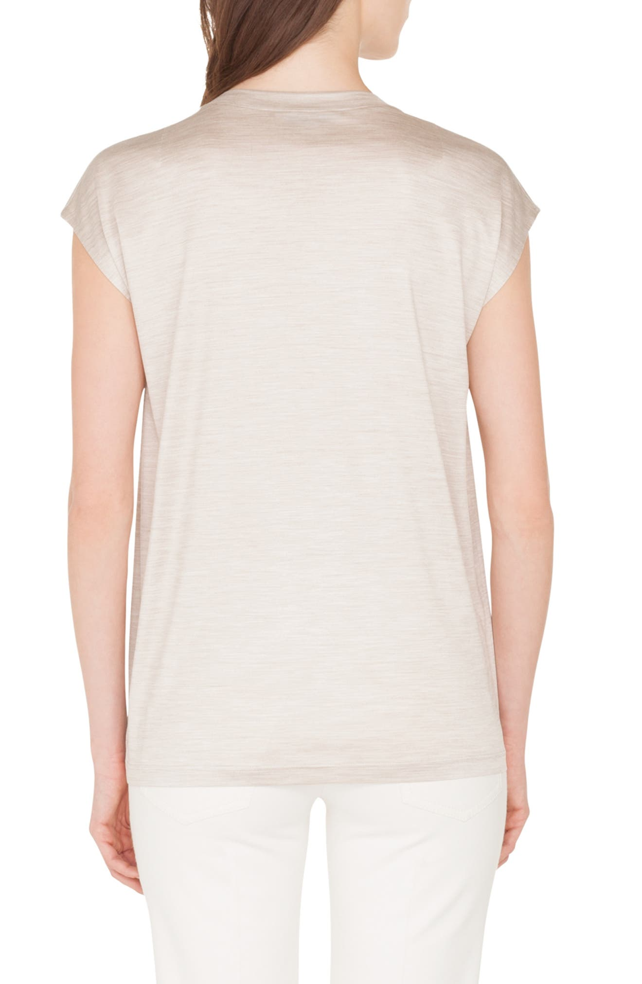 Embellished Silk Jersey Tee,                             Alternate thumbnail 2, color,                             CANVAS