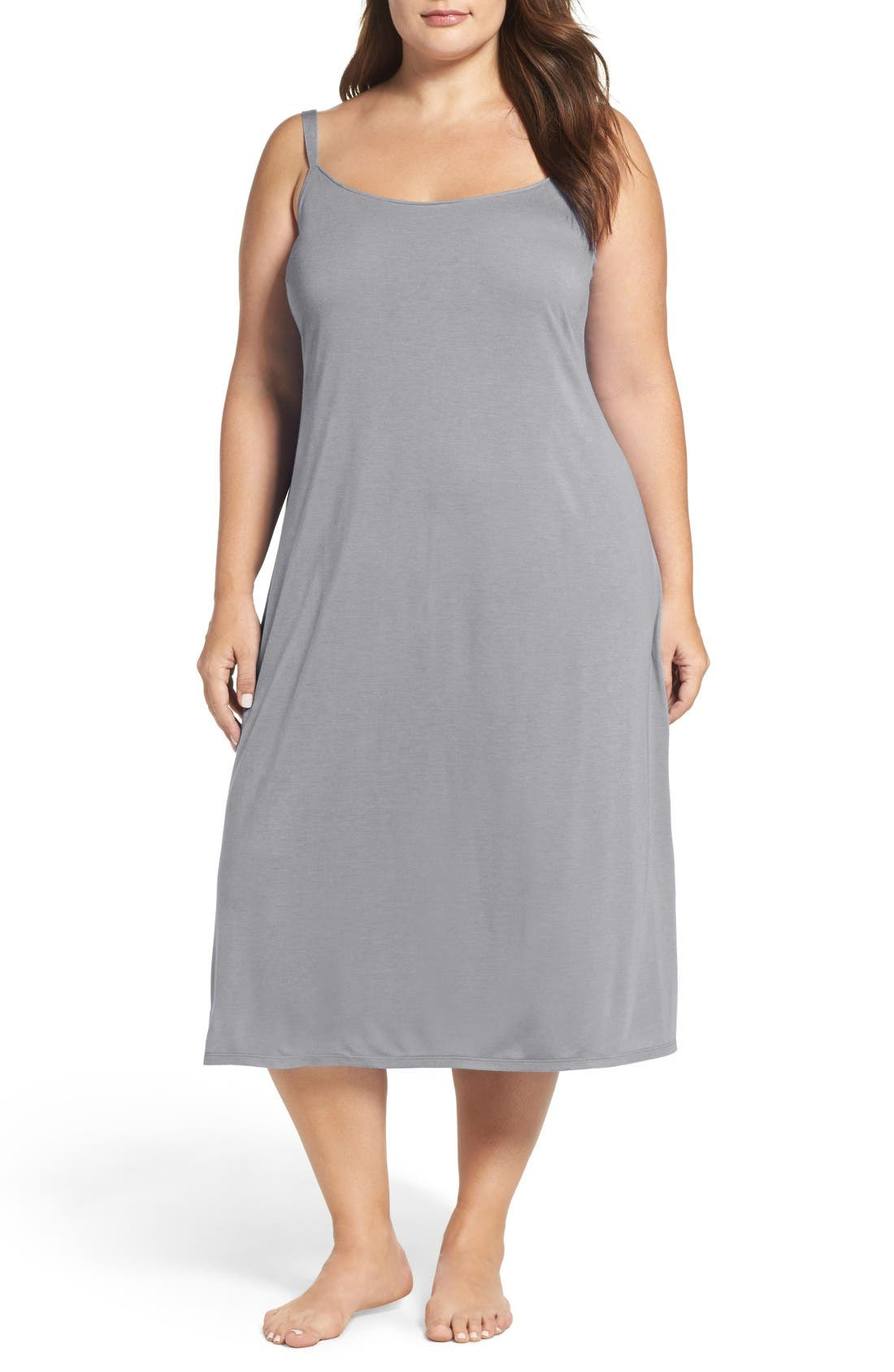 'Shangri La' Nightgown,                             Main thumbnail 1, color,                             HEATHER GREY