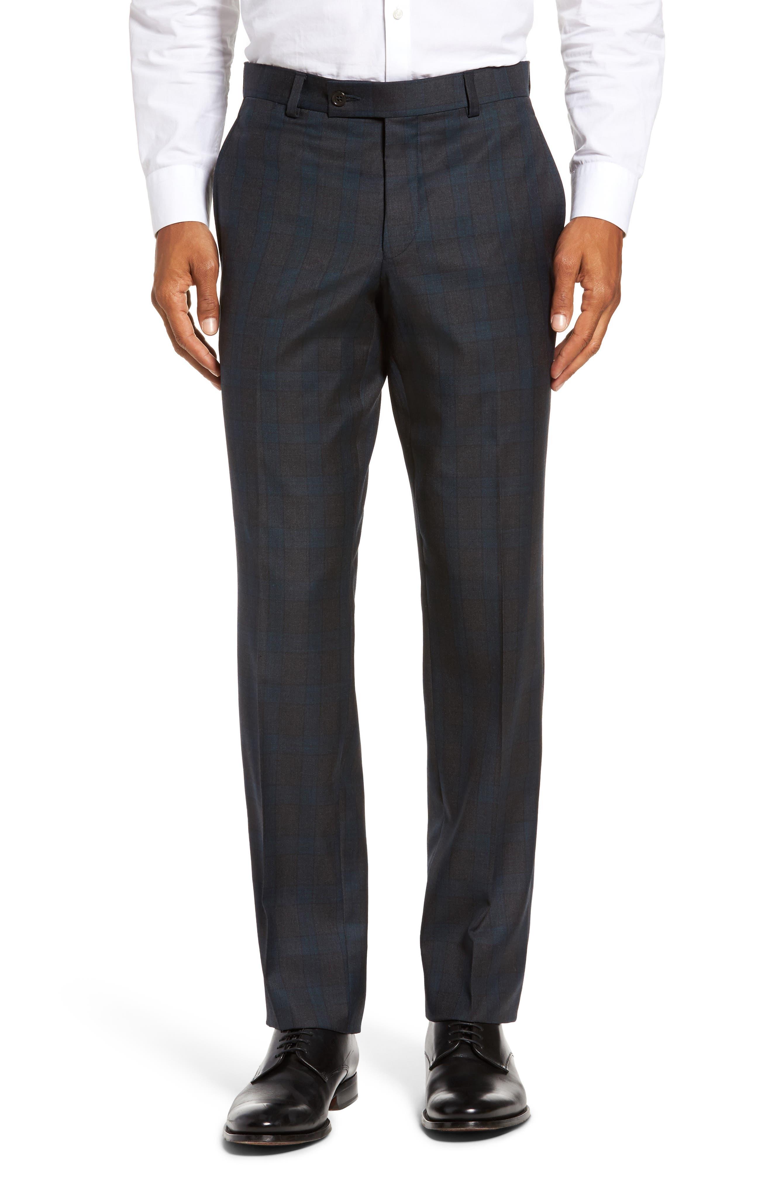 Jefferson Flat Front Plaid Wool Trousers,                             Main thumbnail 1, color,                             020