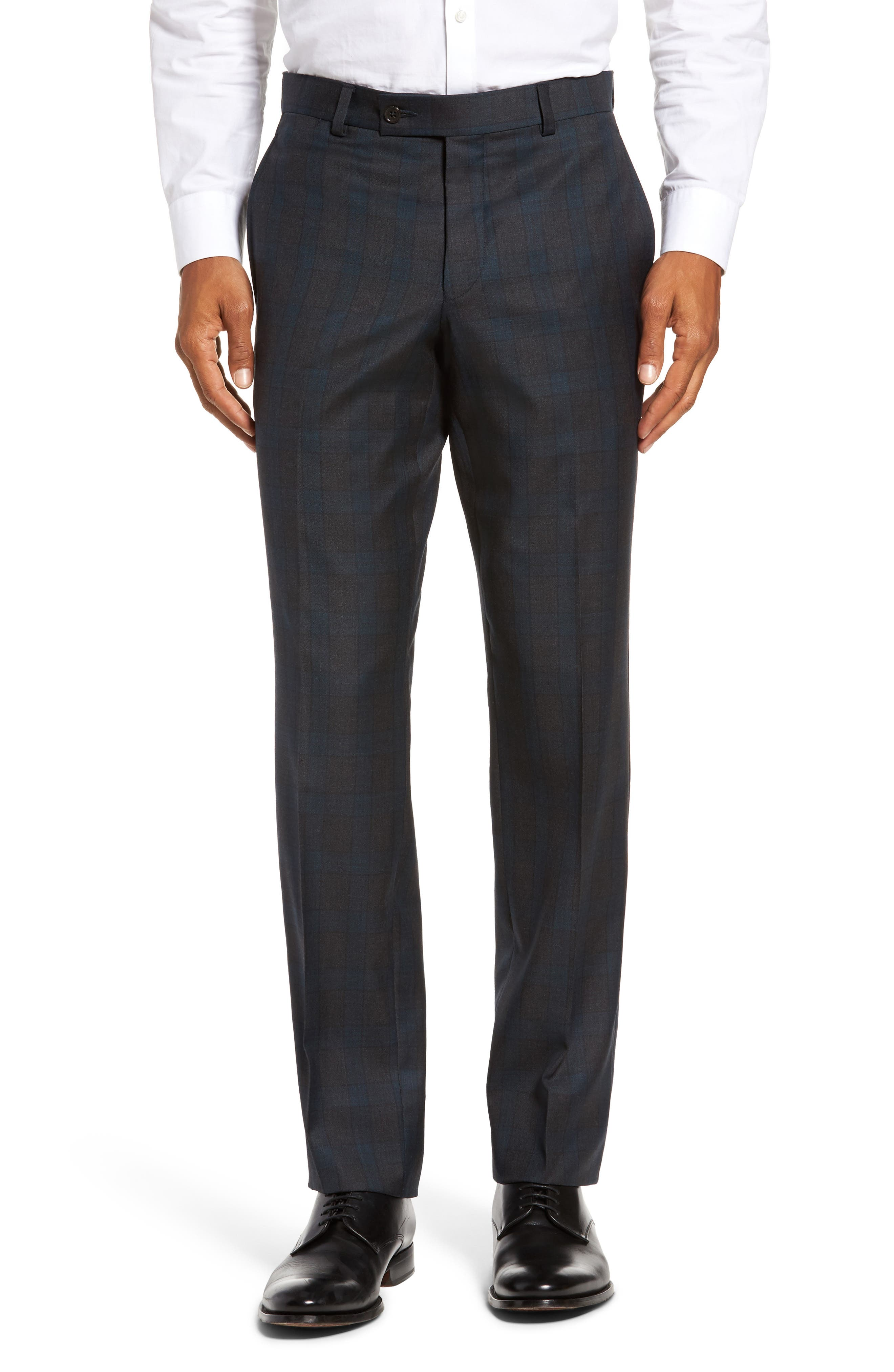 Jefferson Flat Front Plaid Wool Trousers,                         Main,                         color, 020