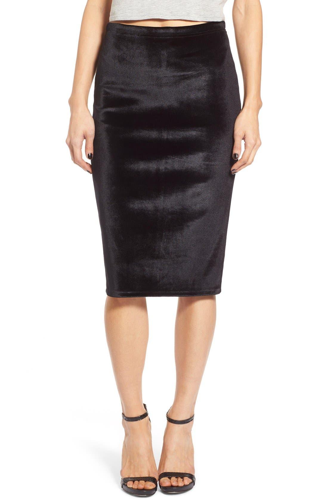 LEITH Velour Pencil Skirt, Main, color, 001