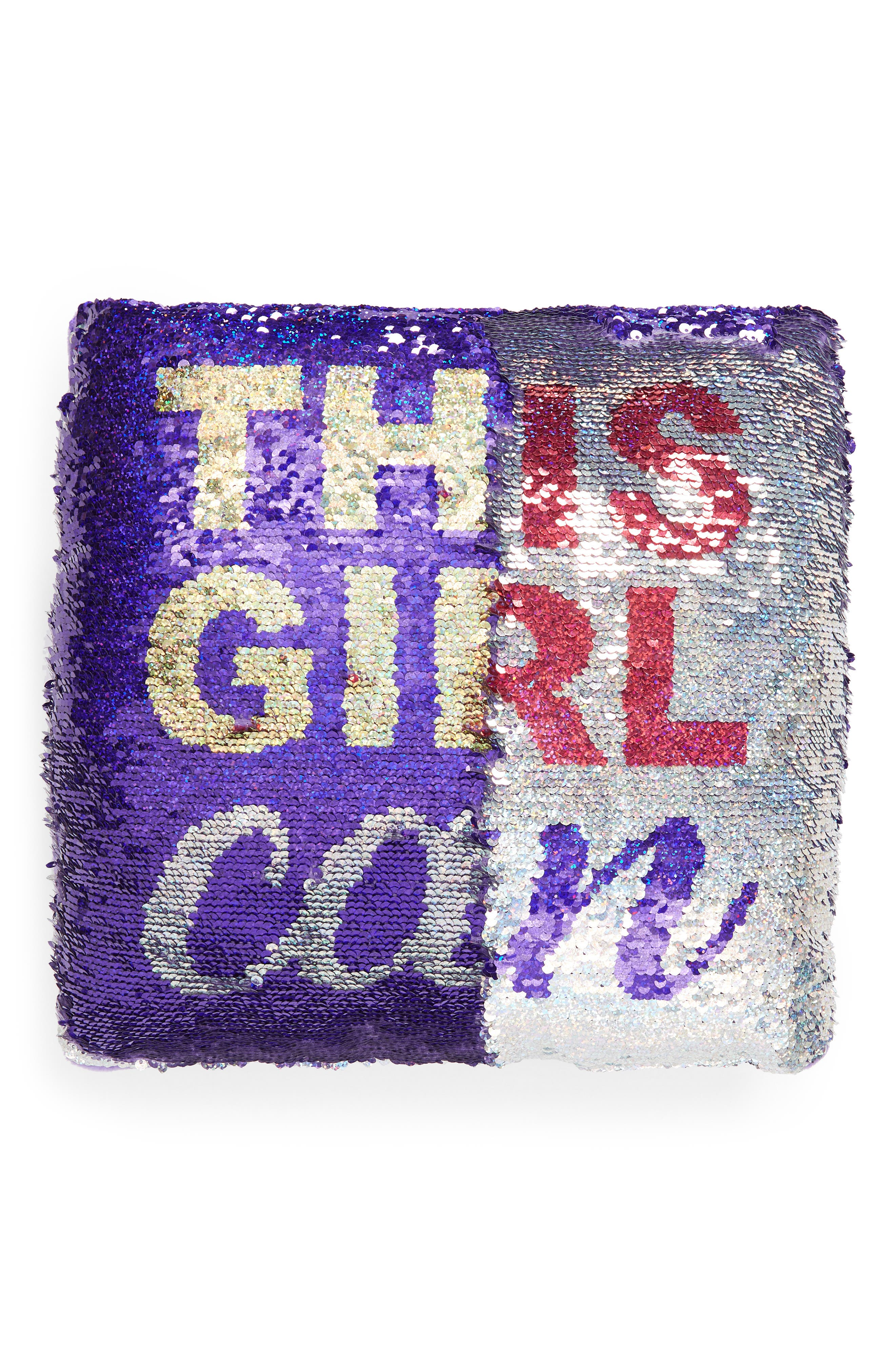 This Girl Can Flip Sequin Accent Pillow,                             Alternate thumbnail 4, color,                             PURPLE/ SILVER