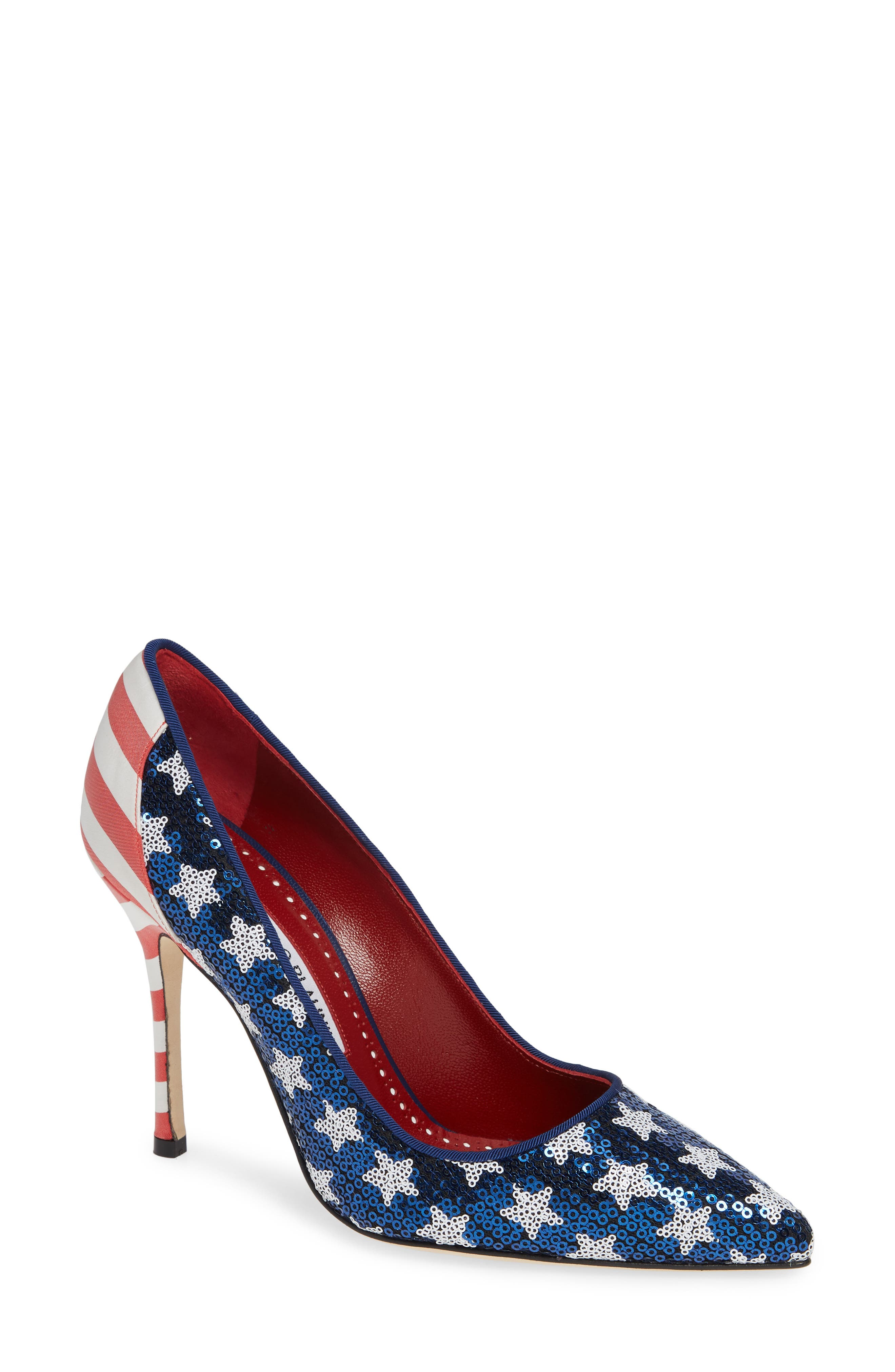 Duke Americana Sequined Pump,                         Main,                         color, RED/ WHITE/ BLUE