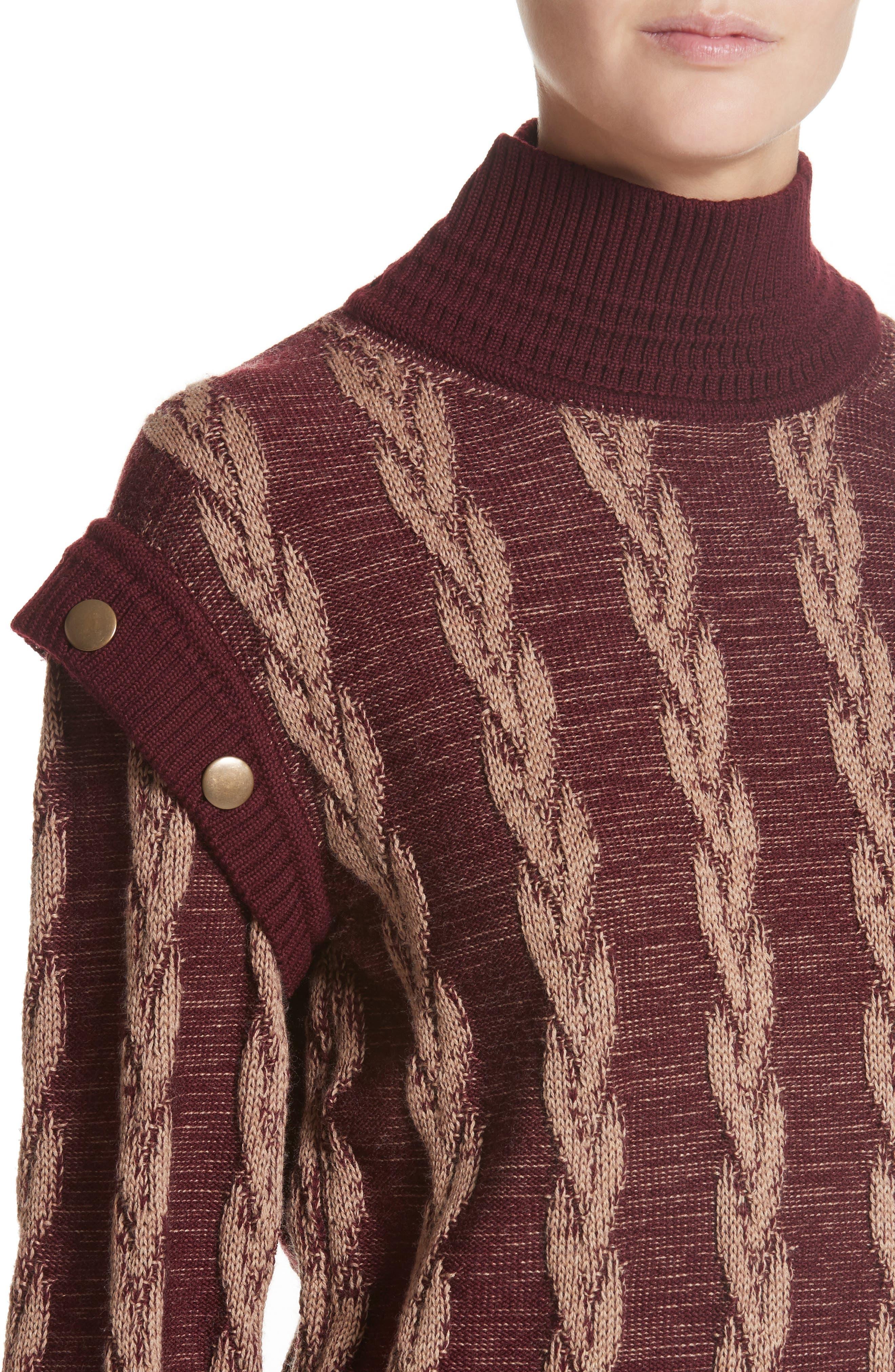 Cable Knit Turtleneck Sweater,                             Alternate thumbnail 4, color,                             930