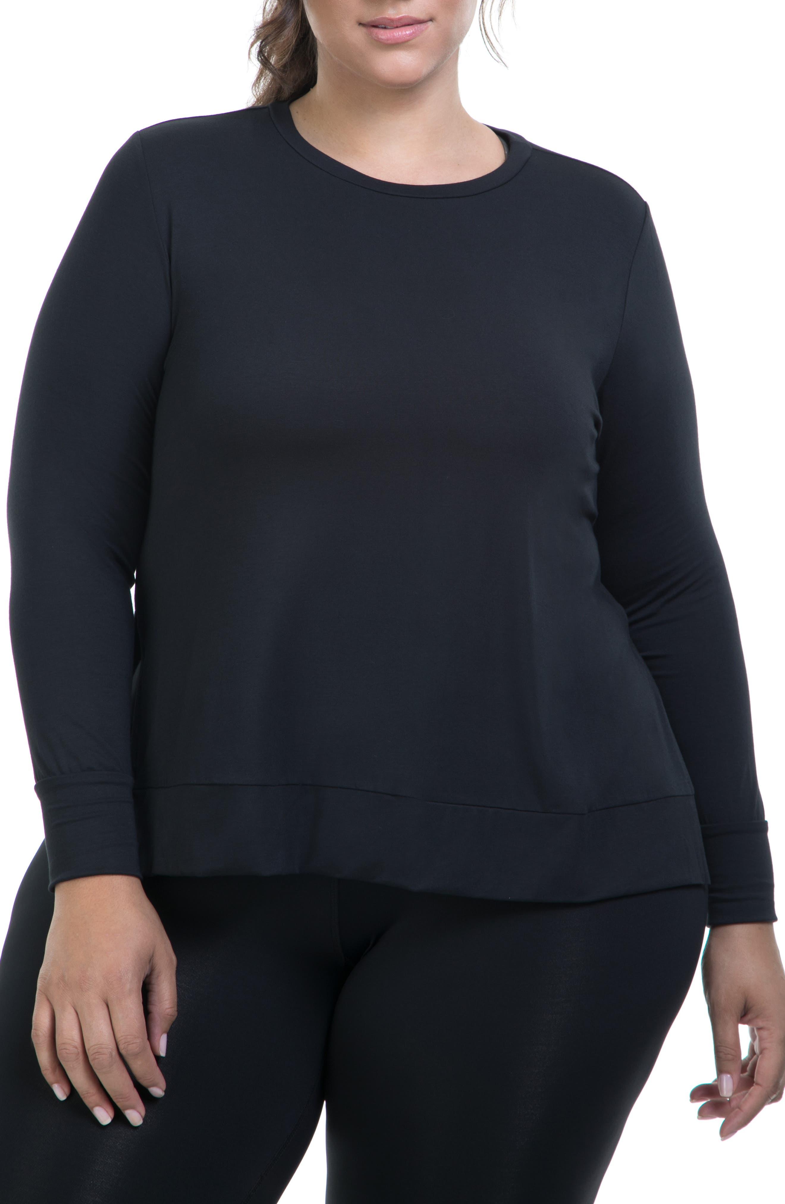 Plus Size Lola Getts Side Slit Tee, Black