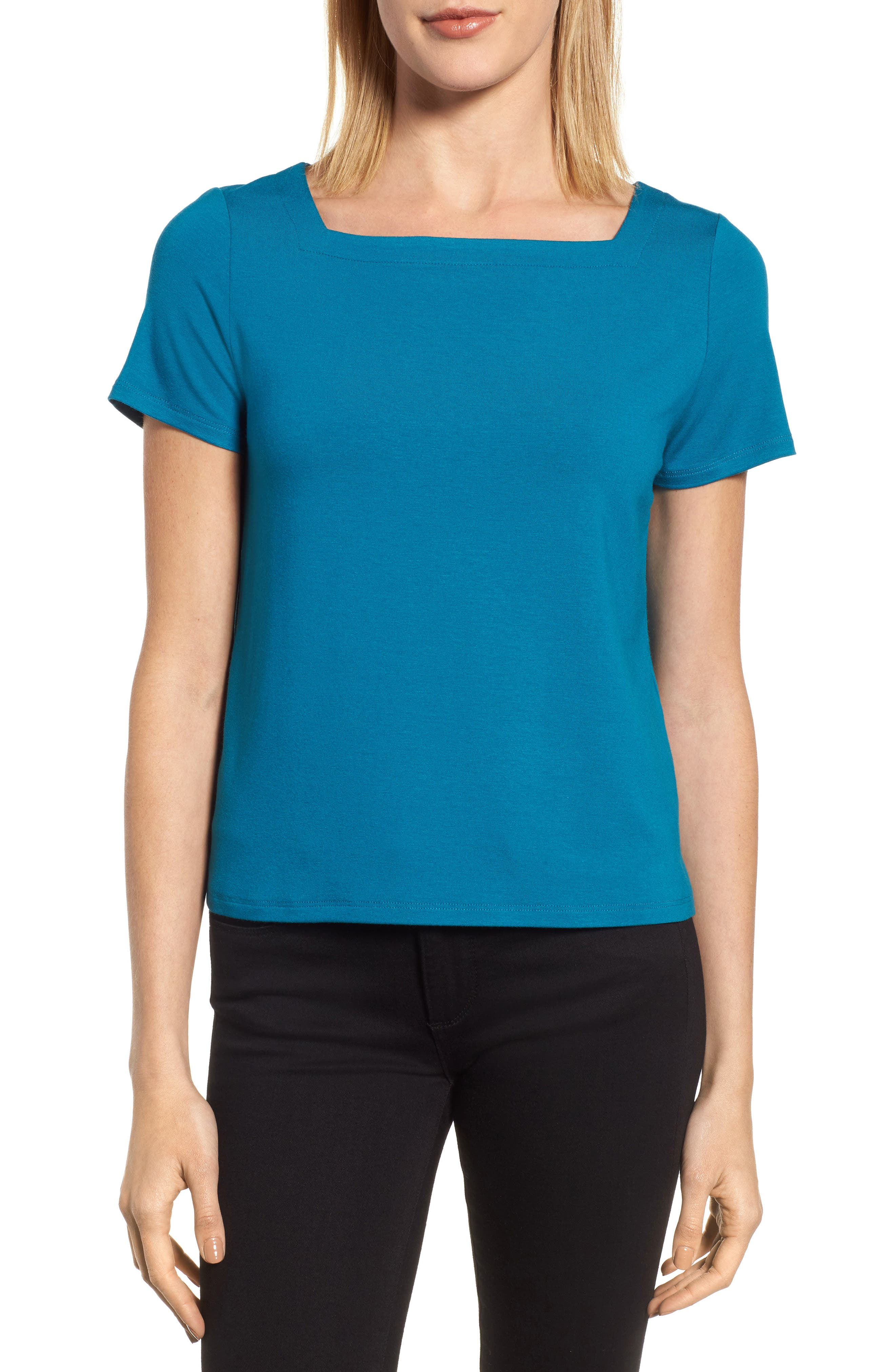 Square Neck Jersey Top,                             Main thumbnail 4, color,
