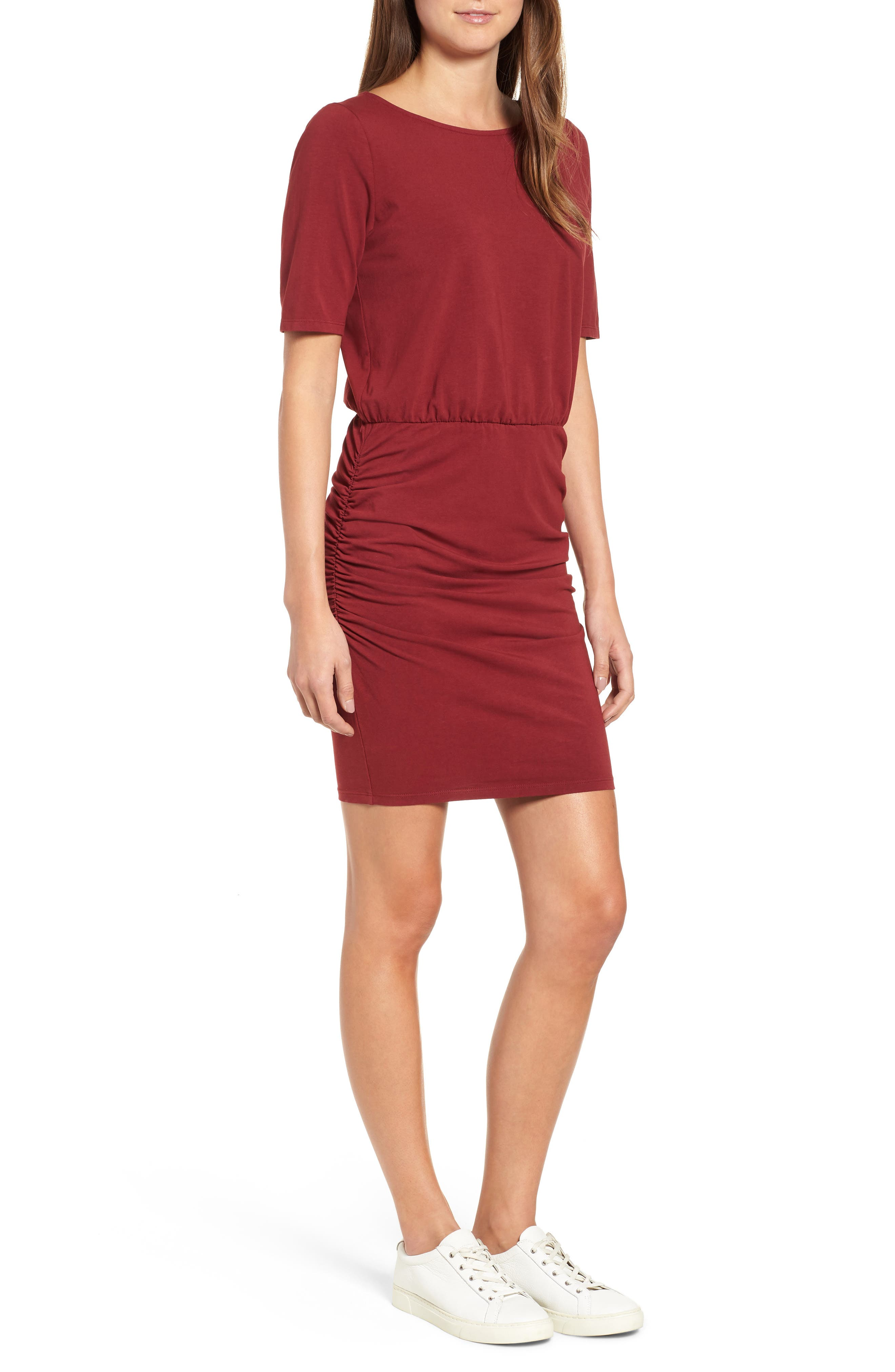 Michael Stars Ruched Body-Con Dress, Red