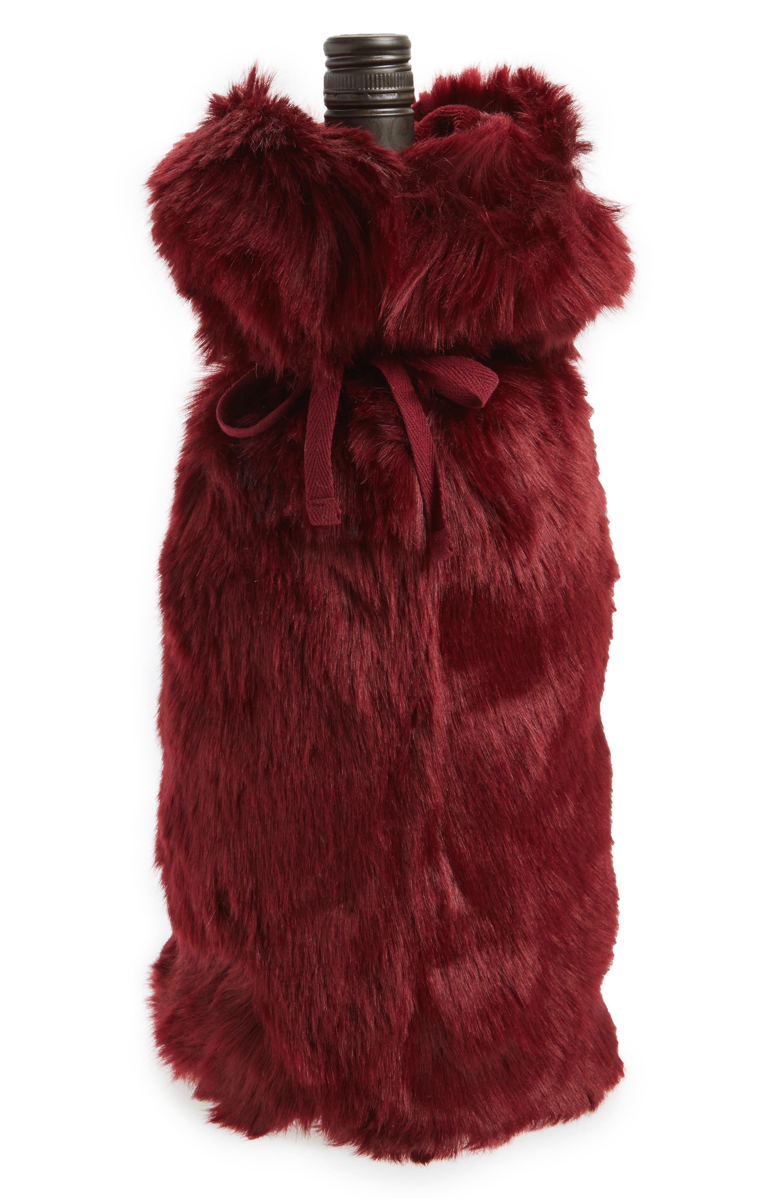 Cuddle Up Faux Fur Wine Bag,                             Main thumbnail 5, color,
