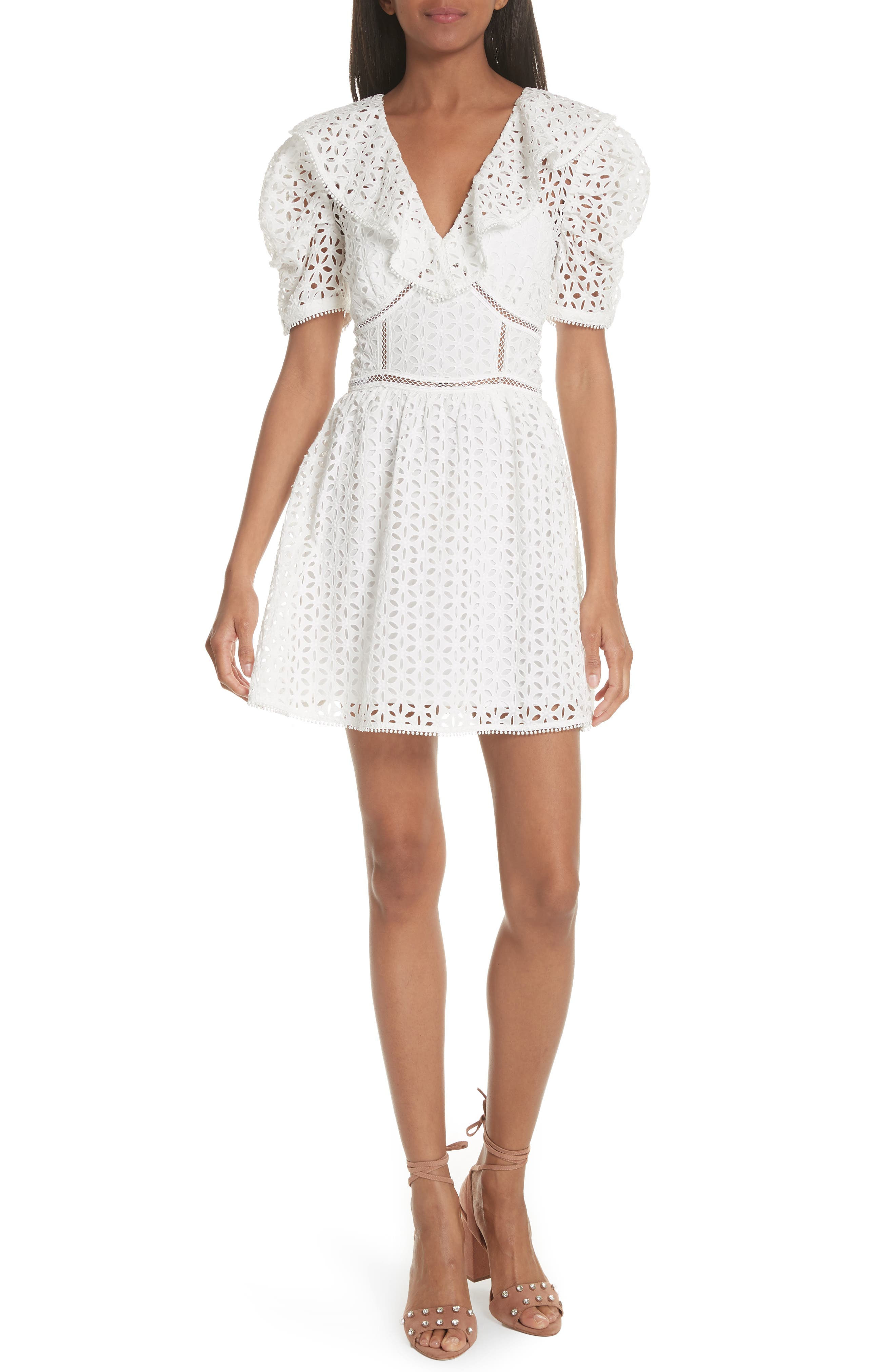 Puff Shoulder Broderie Anglaise Dress,                         Main,                         color, 100
