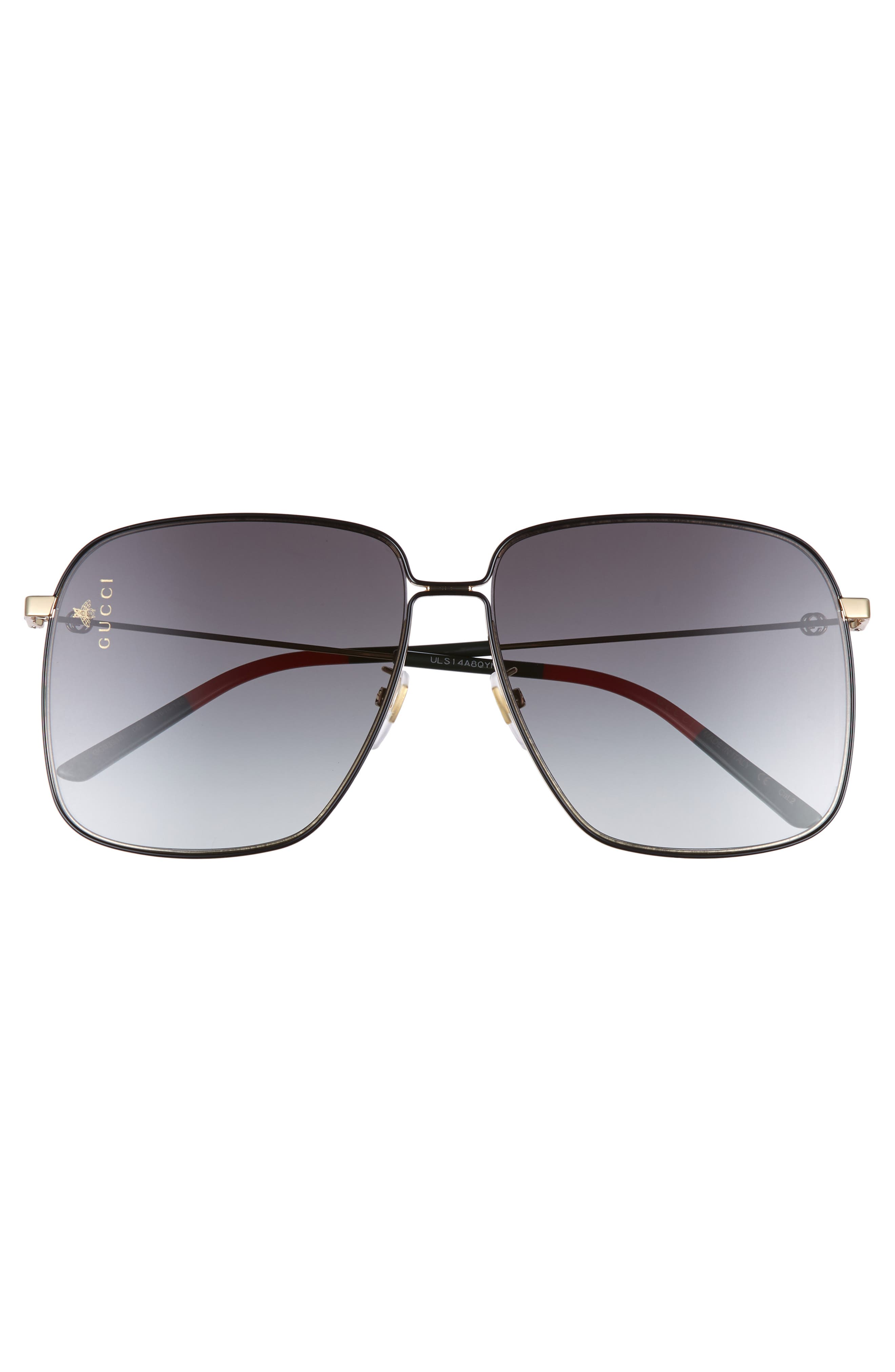 GUCCI,                             61mm Square Sunglasses,                             Alternate thumbnail 3, color,                             GOLD/GREEN/RED/GREY GRADIENT