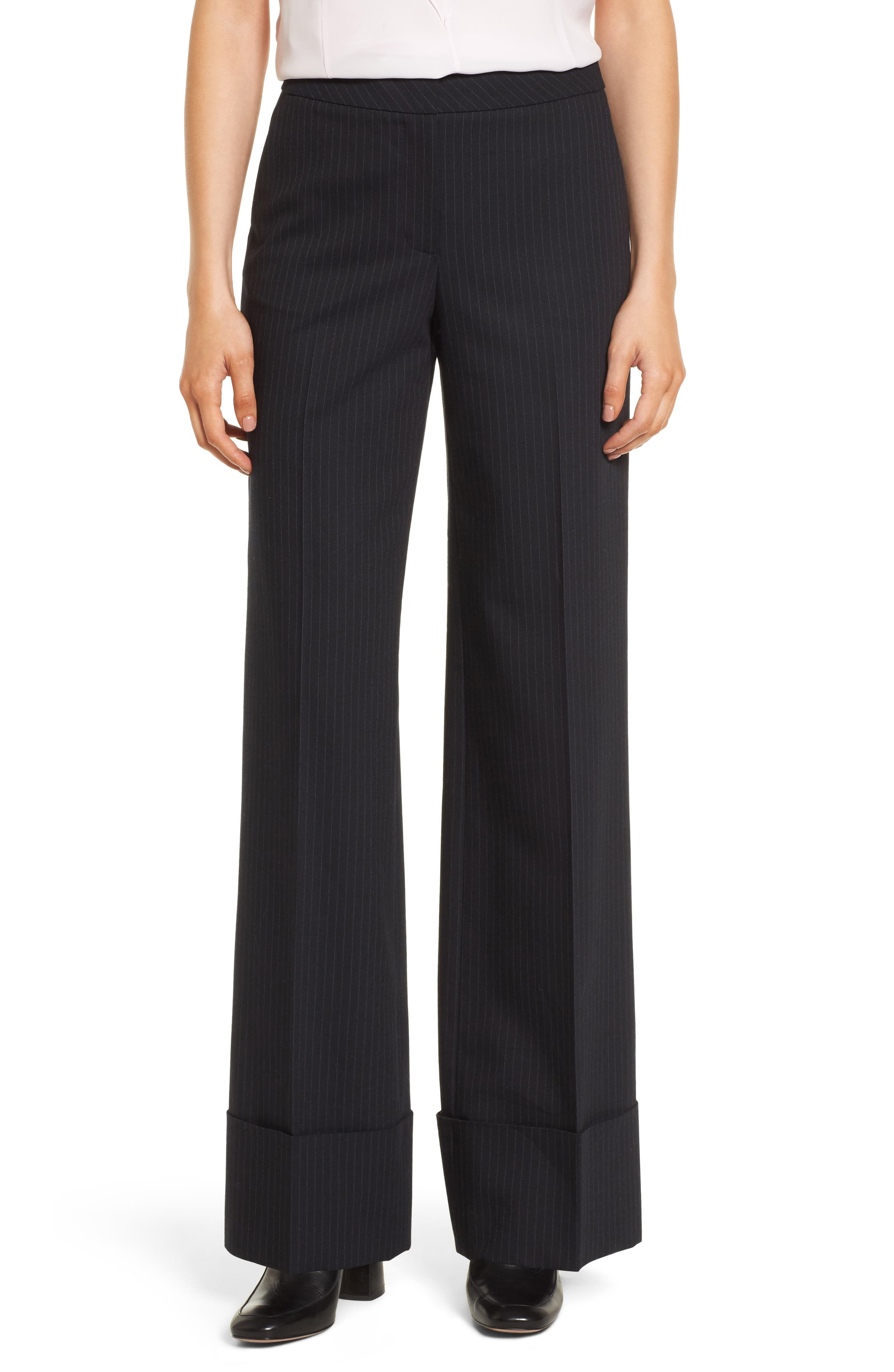 Cuffed Wide Leg Pinstripe Suit Pants,                             Main thumbnail 1, color,