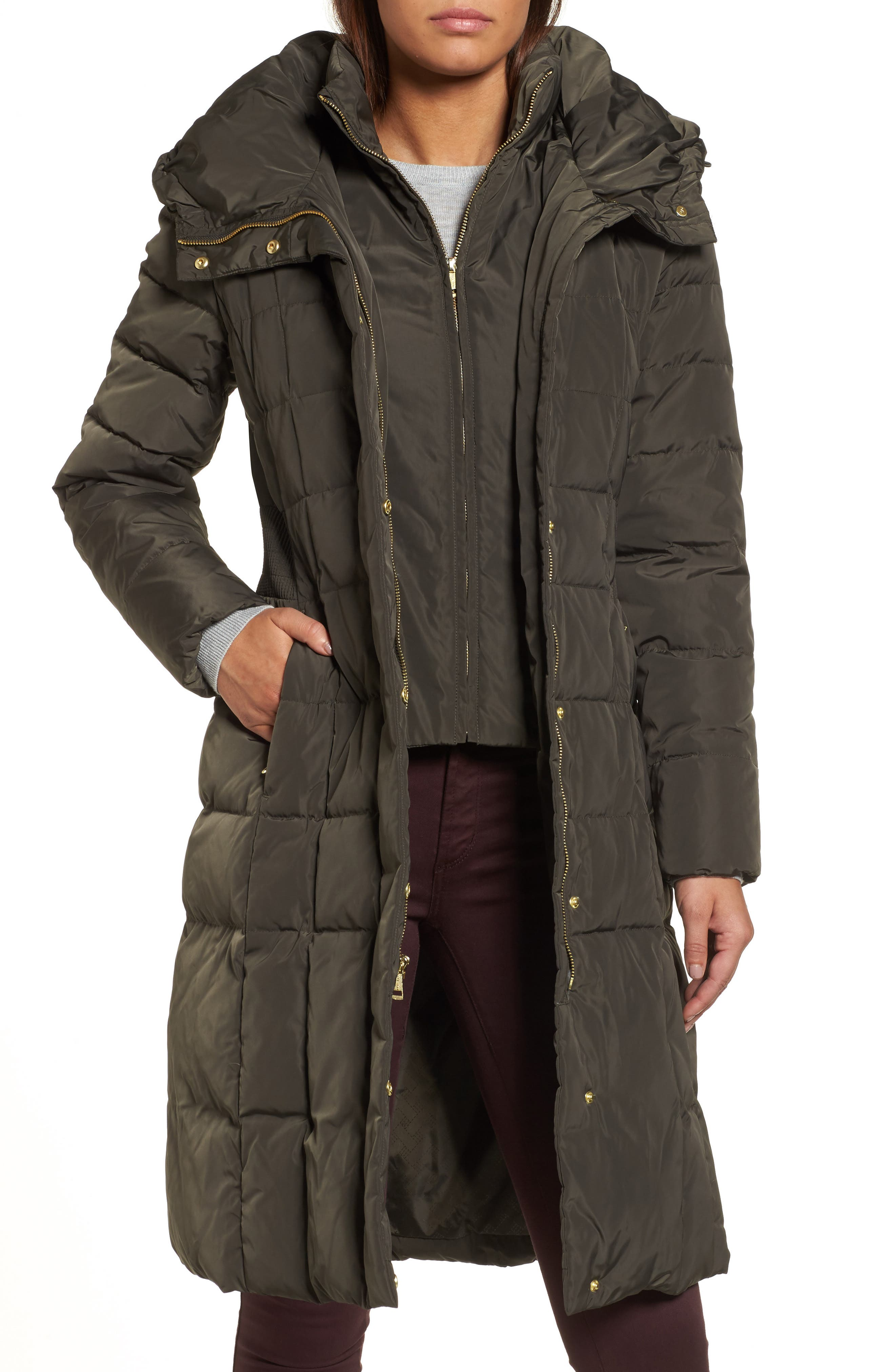 Cole Haan Bib Insert Down & Feather Fill Coat,                             Main thumbnail 1, color,                             FOREST