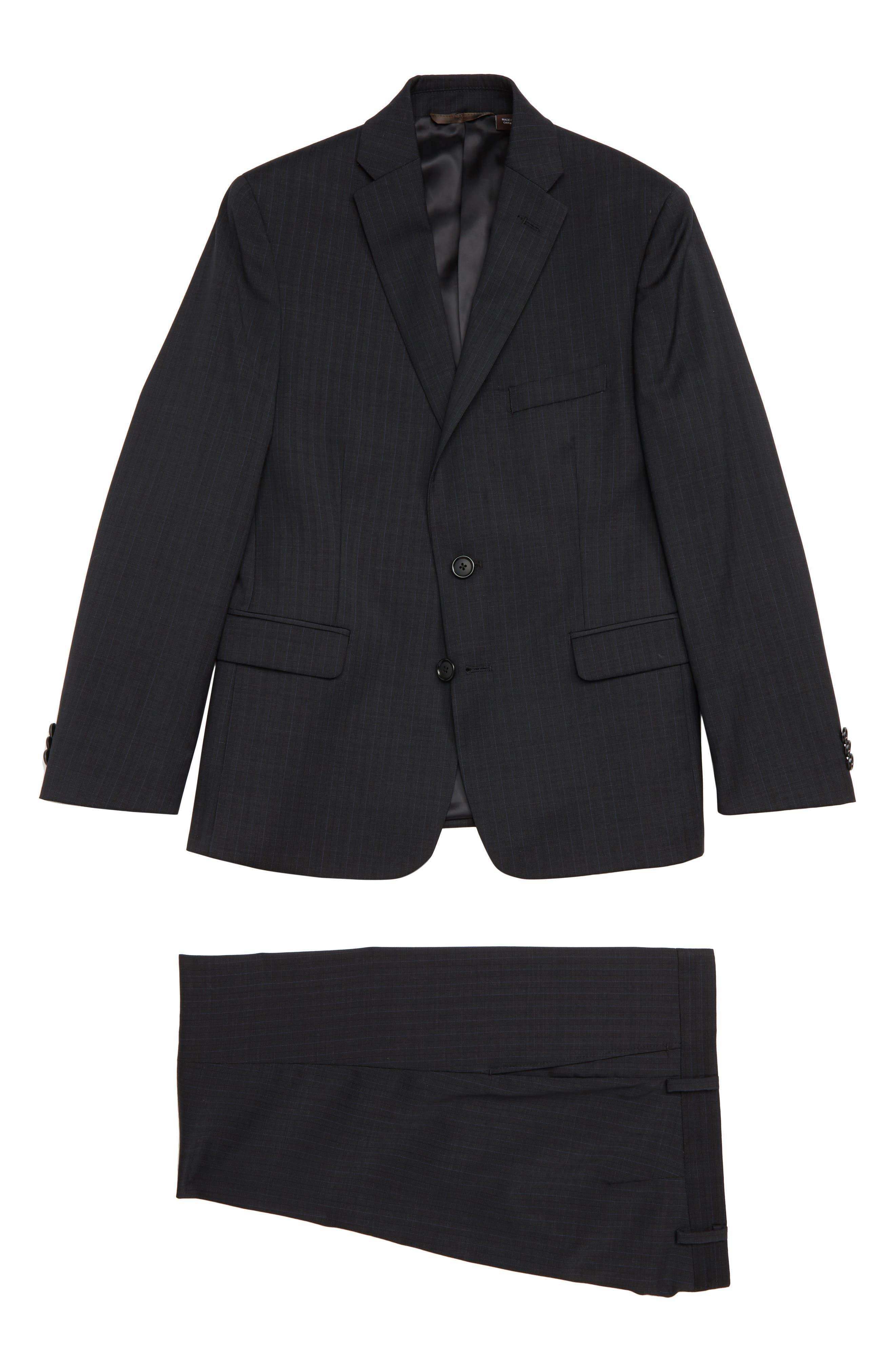 Check Wool Suit,                             Main thumbnail 1, color,                             BLACK / BLUE