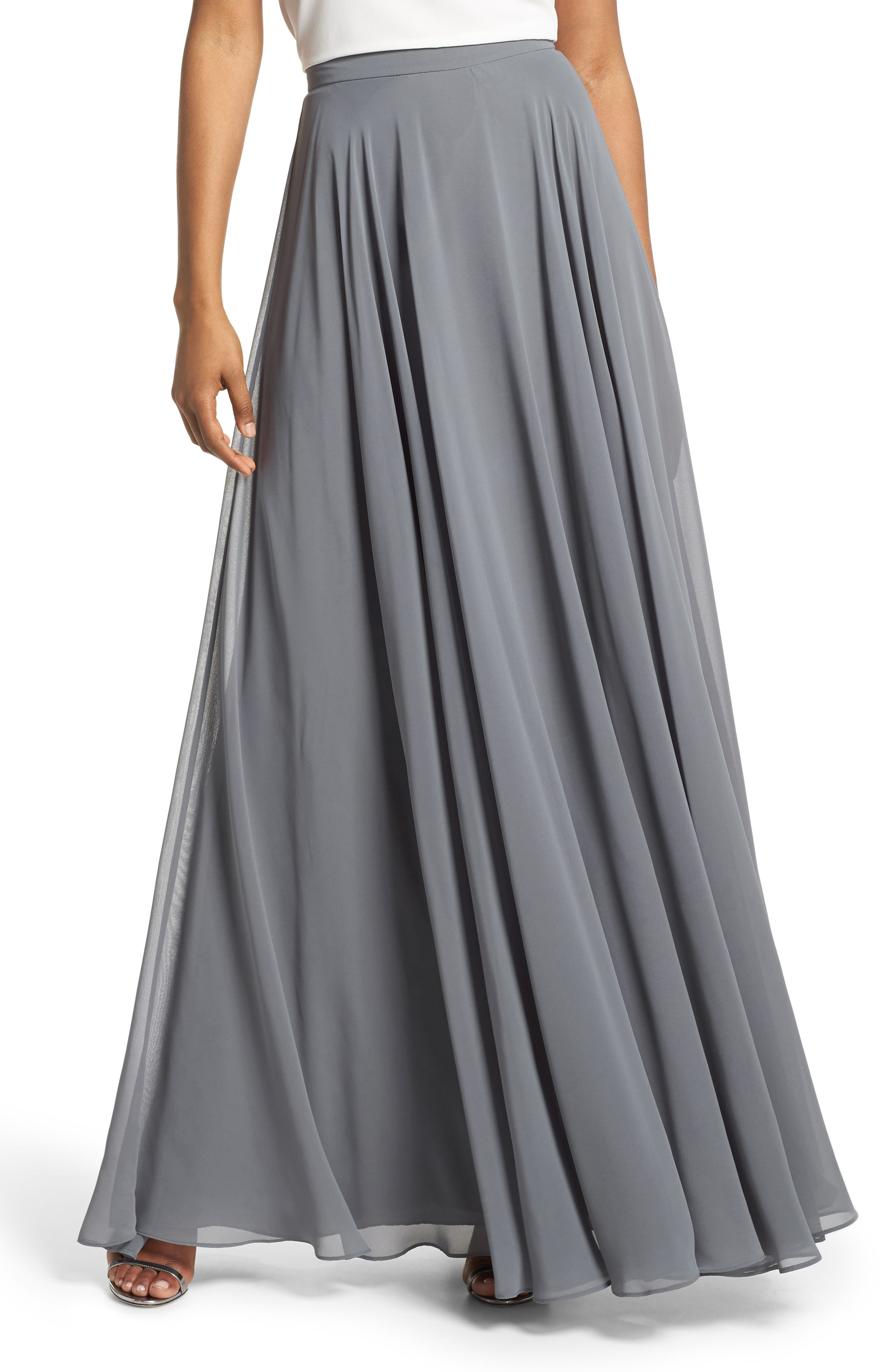 Hampton Long A-Line Chiffon Skirt,                             Main thumbnail 1, color,                             DENMARK BLUE