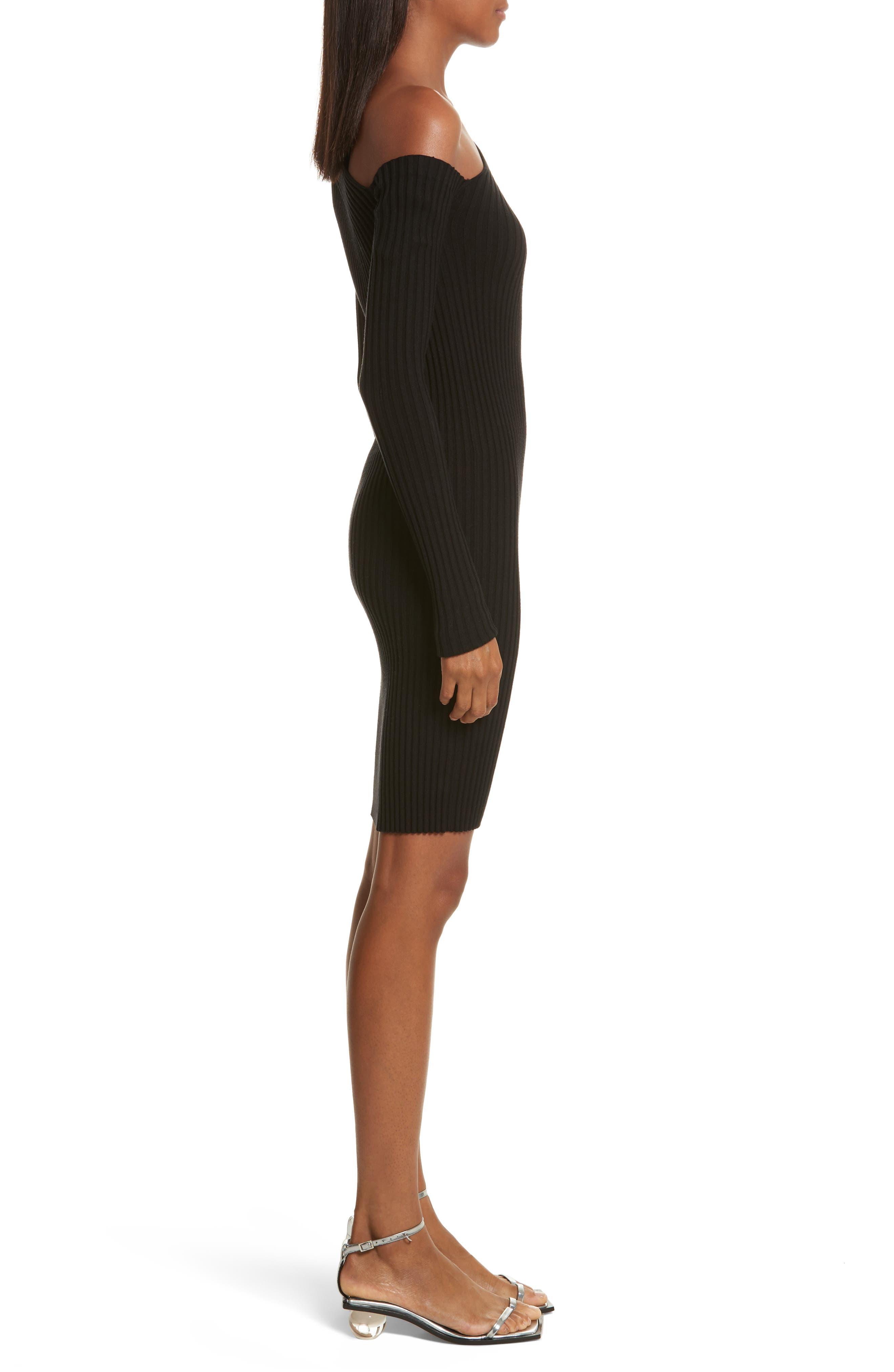 Knit Stretch Silk One-Shoulder Dress,                             Alternate thumbnail 3, color,                             001