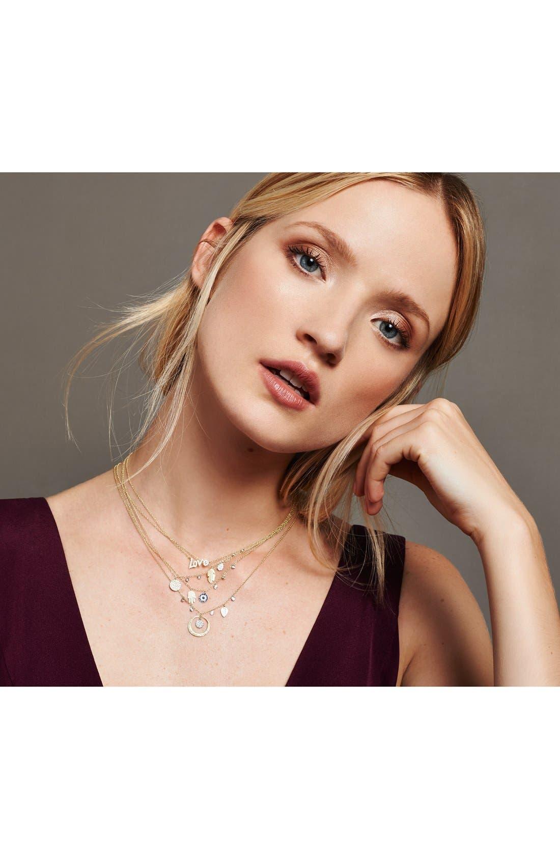 Dazzling Diamond Disc Pendant Necklace,                             Alternate thumbnail 3, color,                             YELLOW GOLD