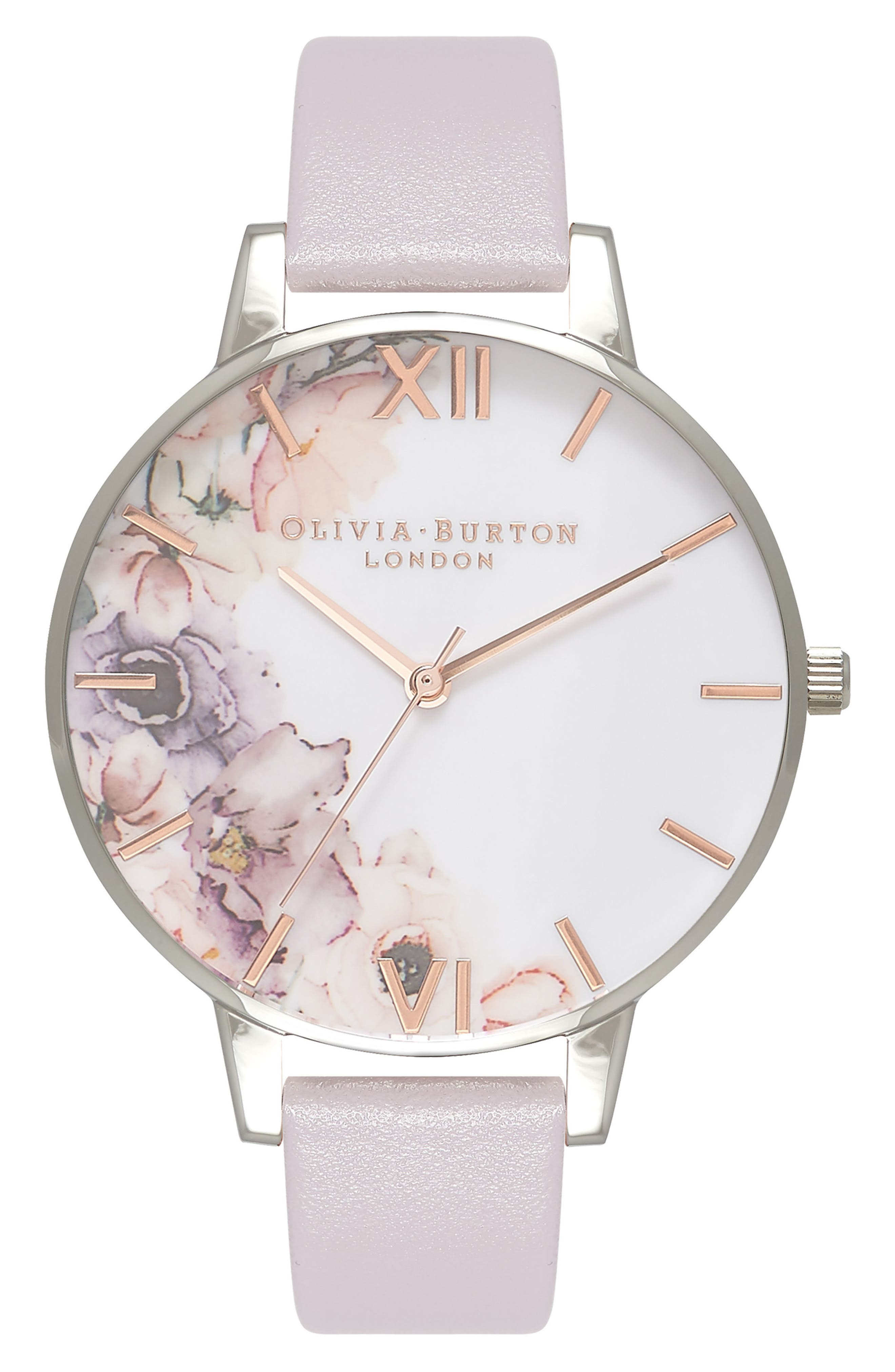 OLIVIA BURTON Watercolour Florals Leather Strap Watch, 38mm, Main, color, GREY/ WHITE/ FLORAL/ SILVER