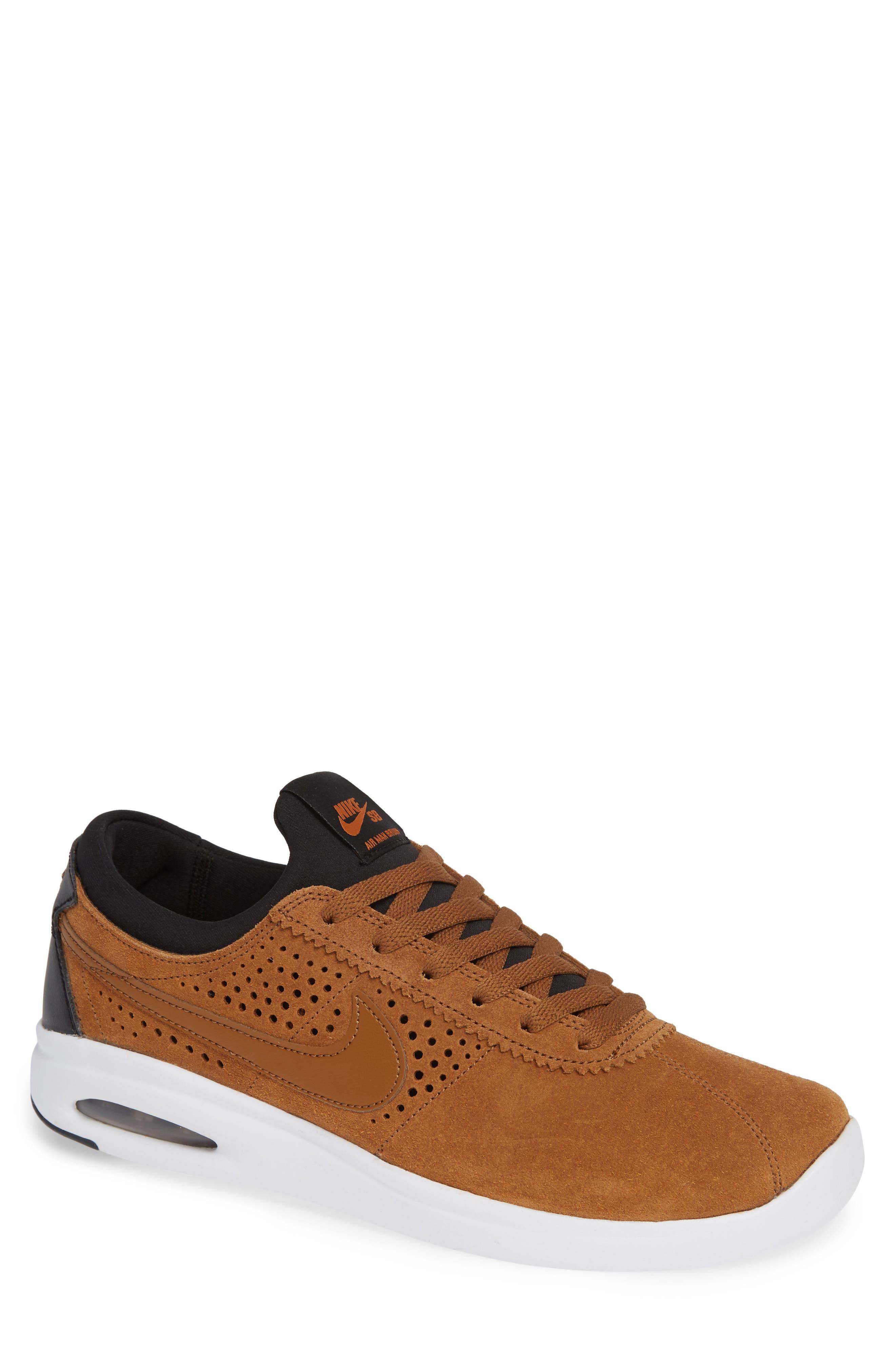 SB Air Max Bruin Vapor Skateboarding Sneaker,                             Main thumbnail 1, color,                             BRITISH TAN/ BLACK/ MONARCH