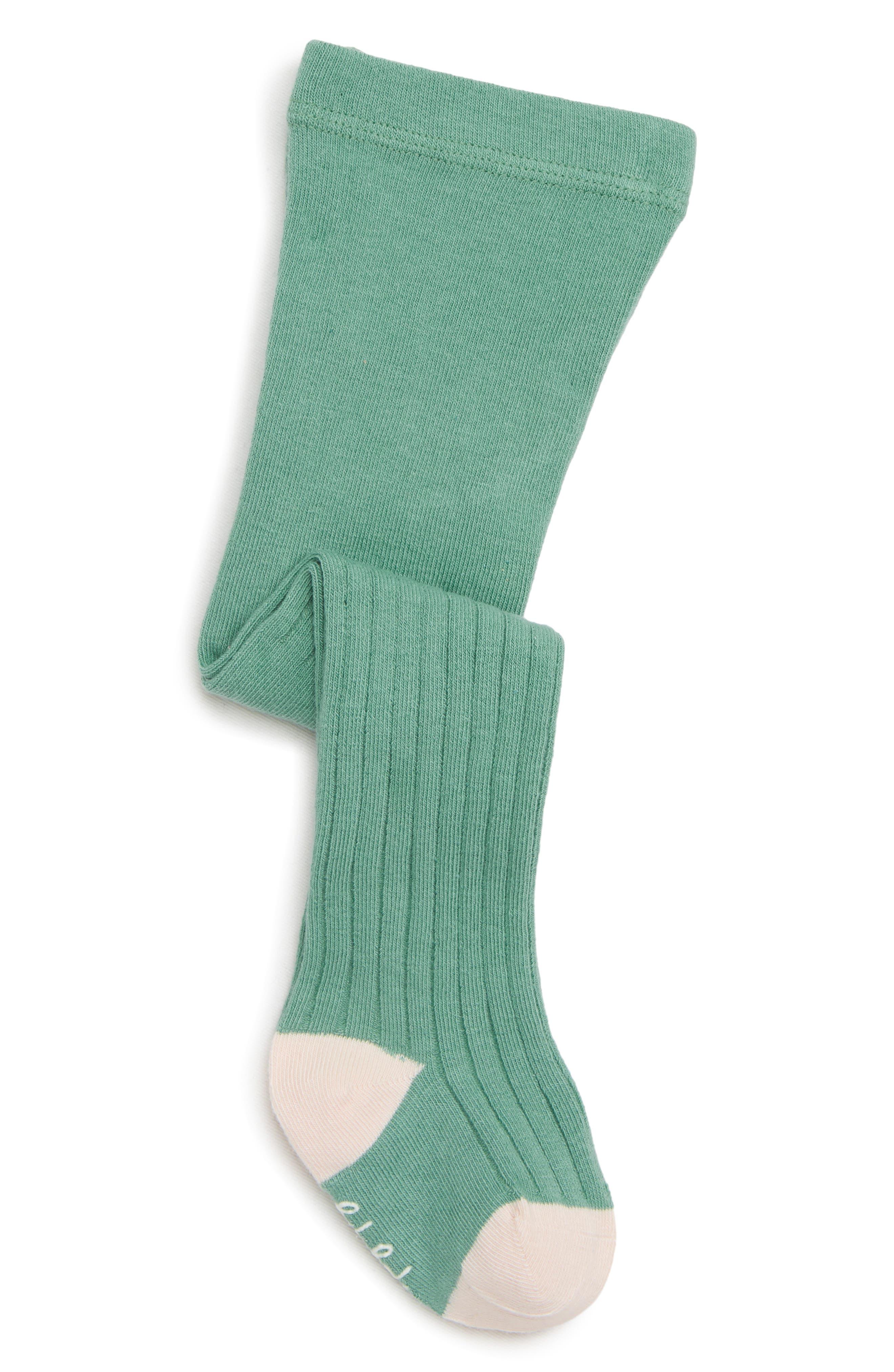 Rib Knit Tights,                         Main,                         color, JADE GREEN