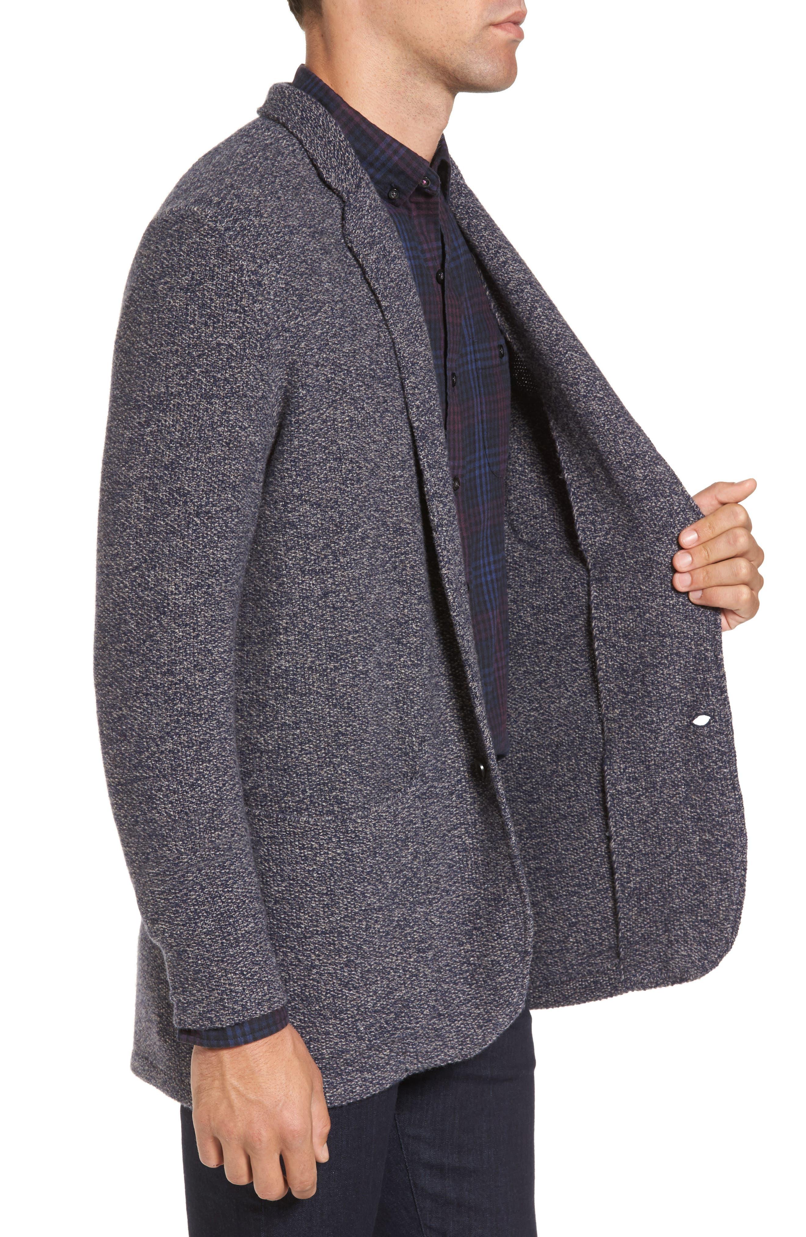 Deconstructed Merino & Yak Wool Sweater Jacket,                             Alternate thumbnail 3, color,                             416