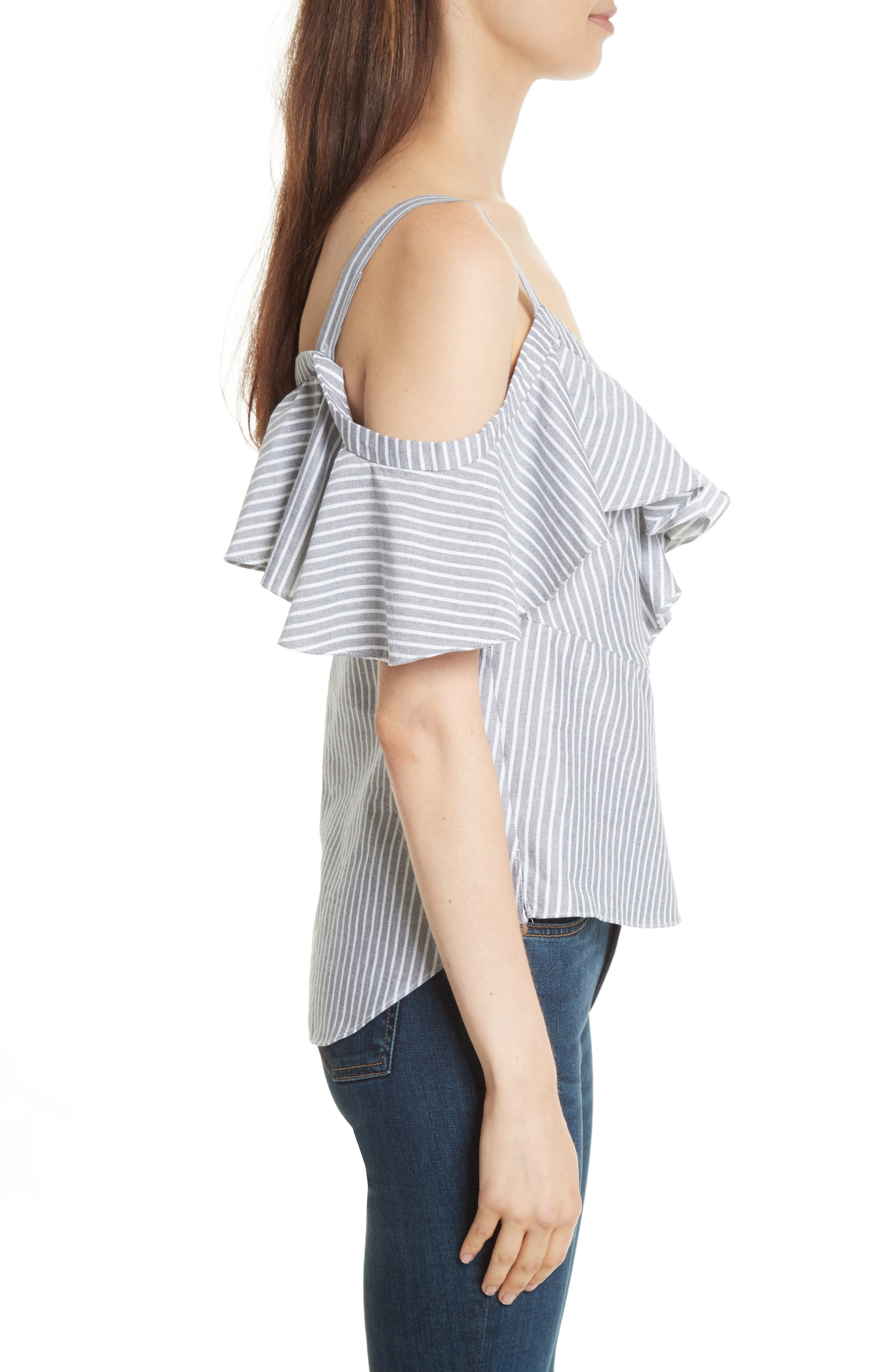Grant Ruffle Off the Shoulder Top,                             Alternate thumbnail 3, color,                             011
