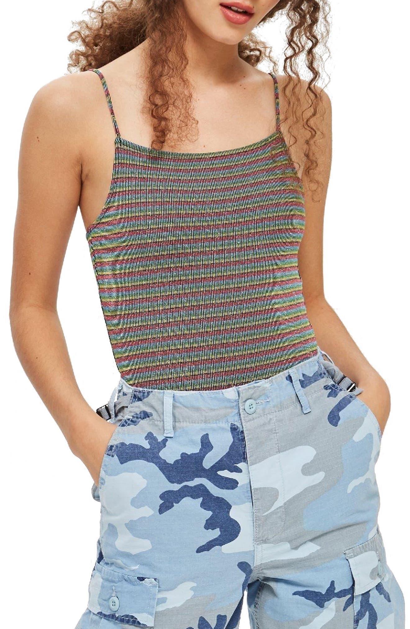 Metallic Stripe Bodysuit,                             Main thumbnail 1, color,