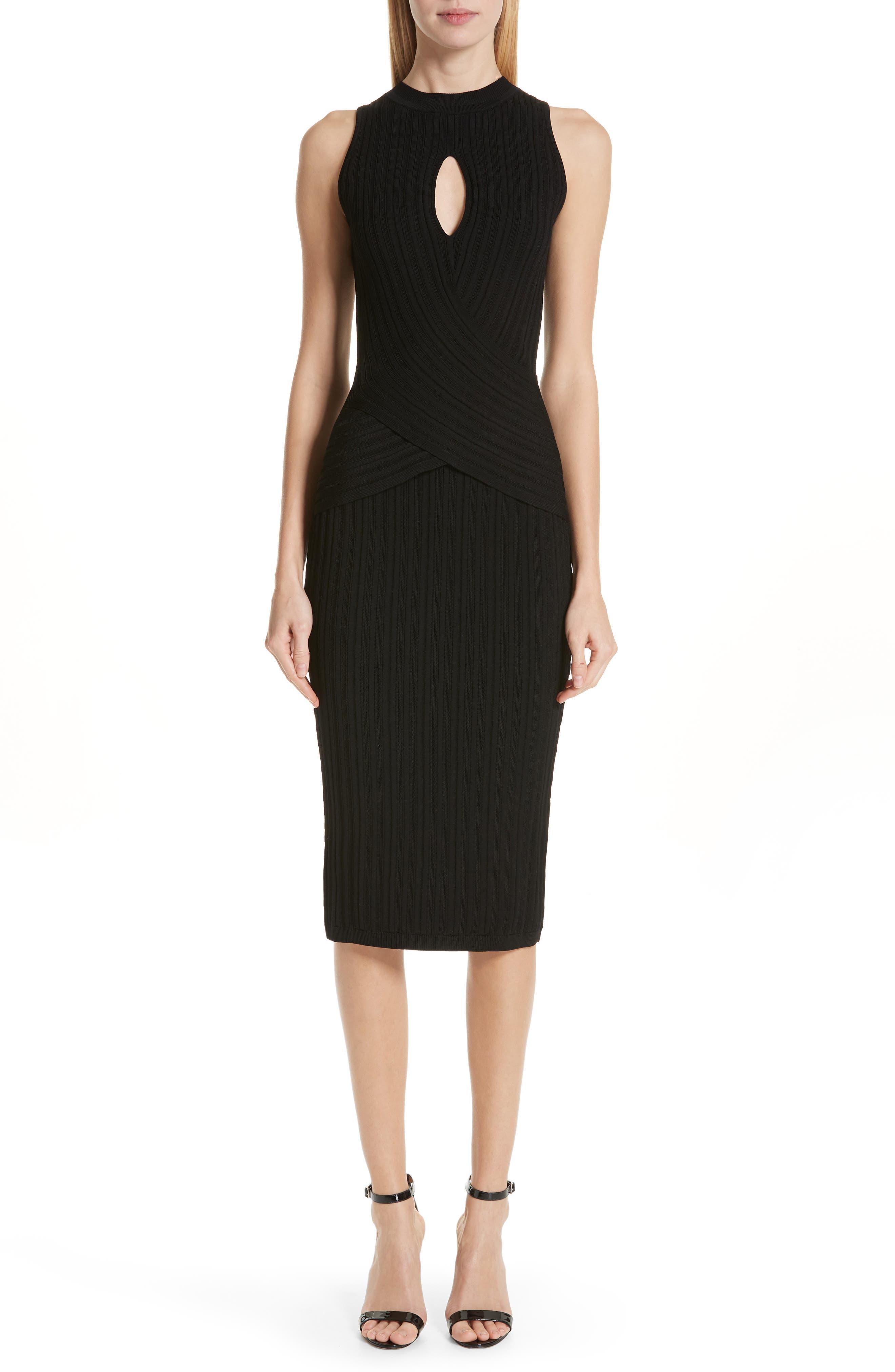 CUSHNIE Knit Pencil Dress, Main, color, BLACK