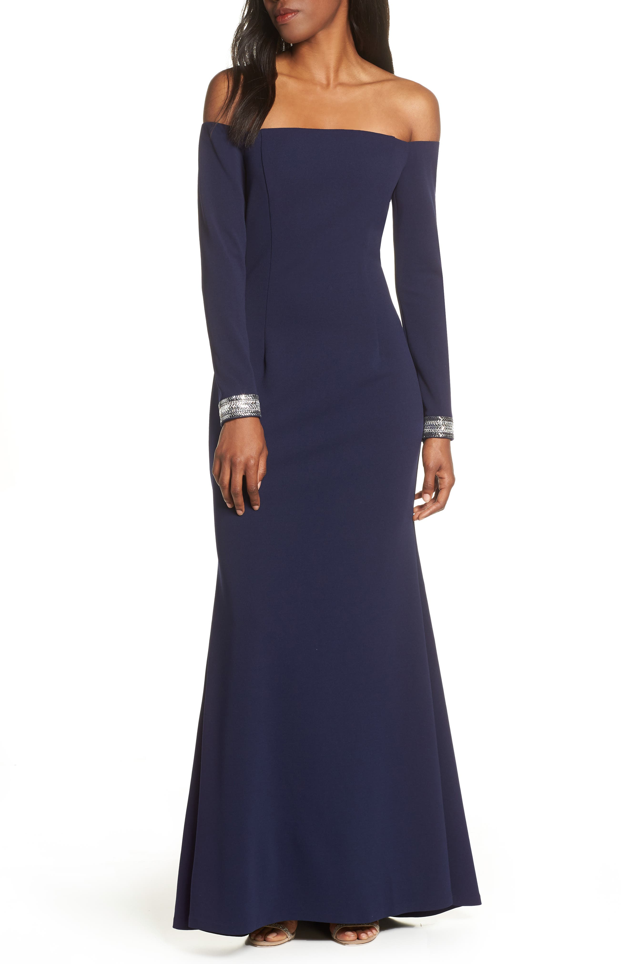 Petite Vince Camuto Crystal Cuff Off The Shoulder Long Sleeve Crepe Dress, Blue
