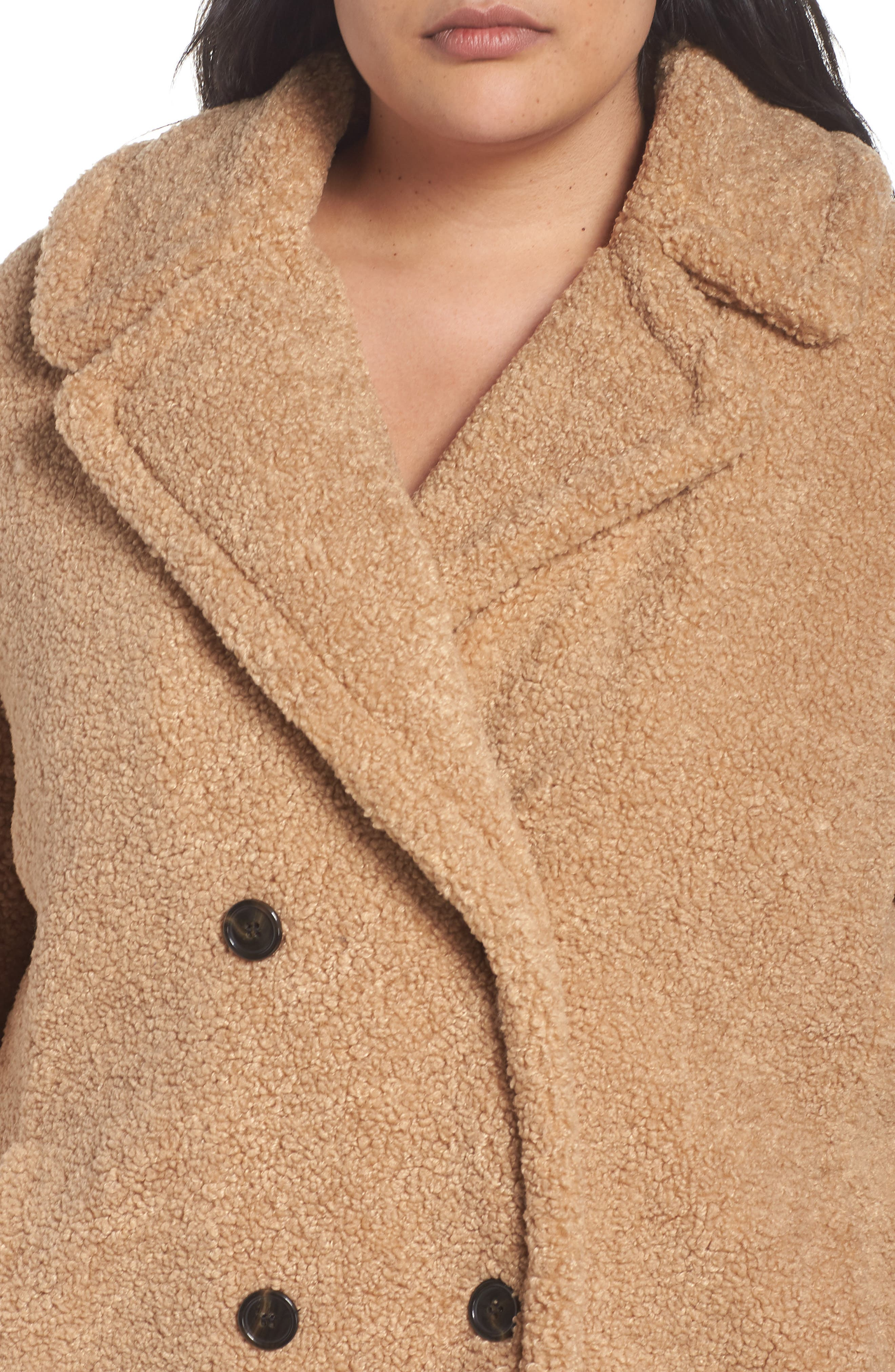 KENSIE,                             Teddy Bear Notch Collar Faux Fur Coat,                             Alternate thumbnail 5, color,                             788