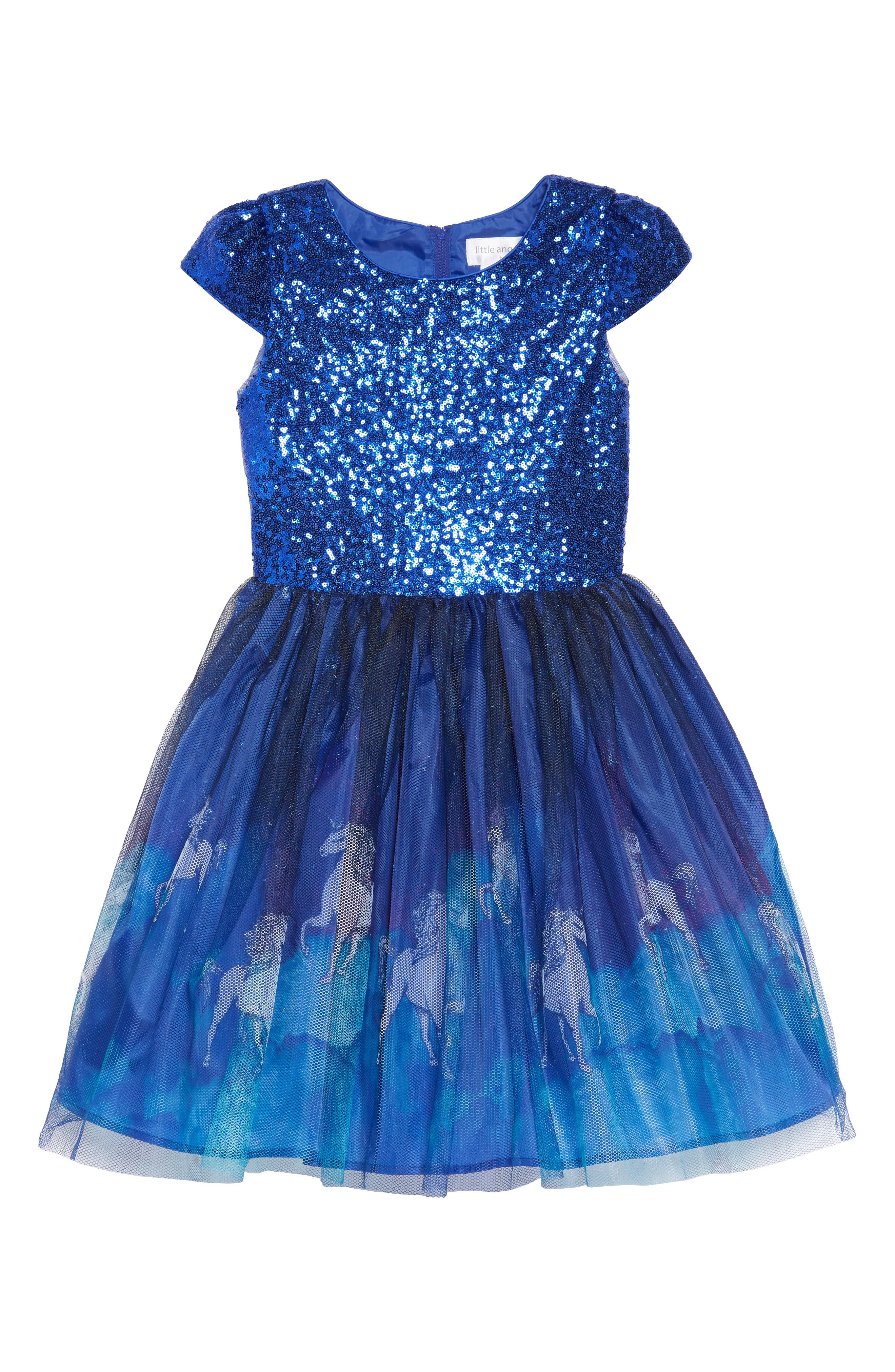 Unicorn Print Mesh & Sequin Dress,                             Main thumbnail 1, color,                             BLUE