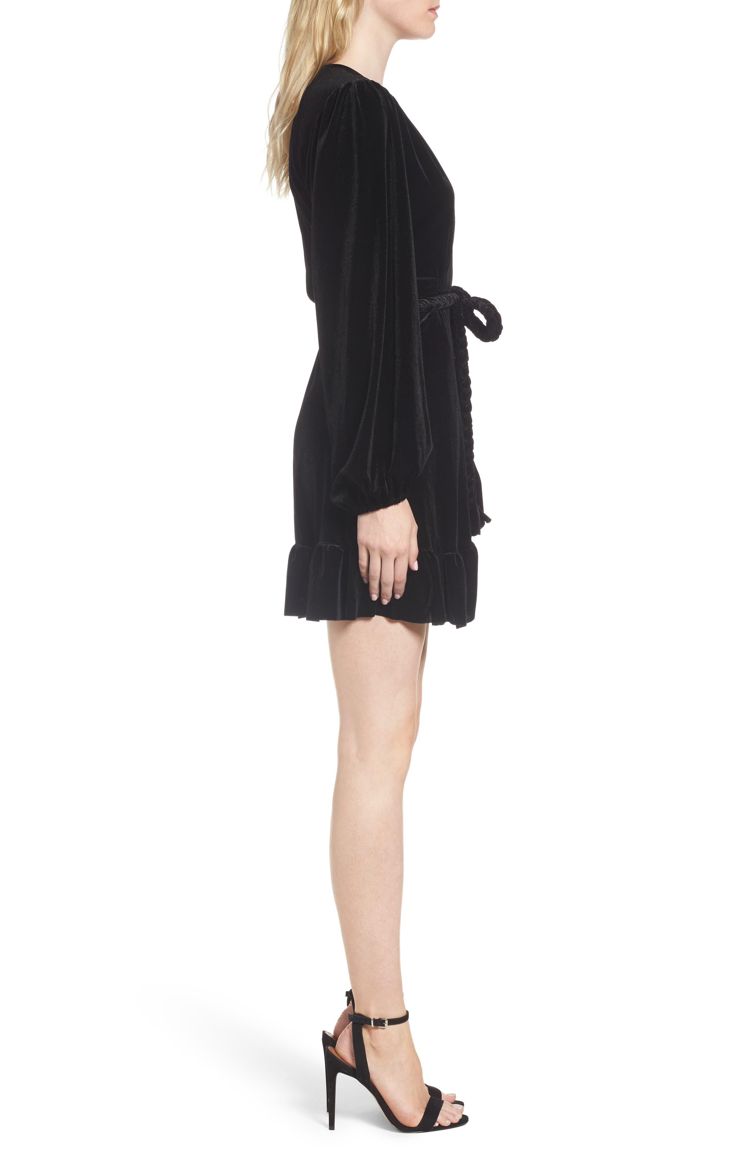 Agne Velvet Wrap Dress,                             Alternate thumbnail 3, color,                             013