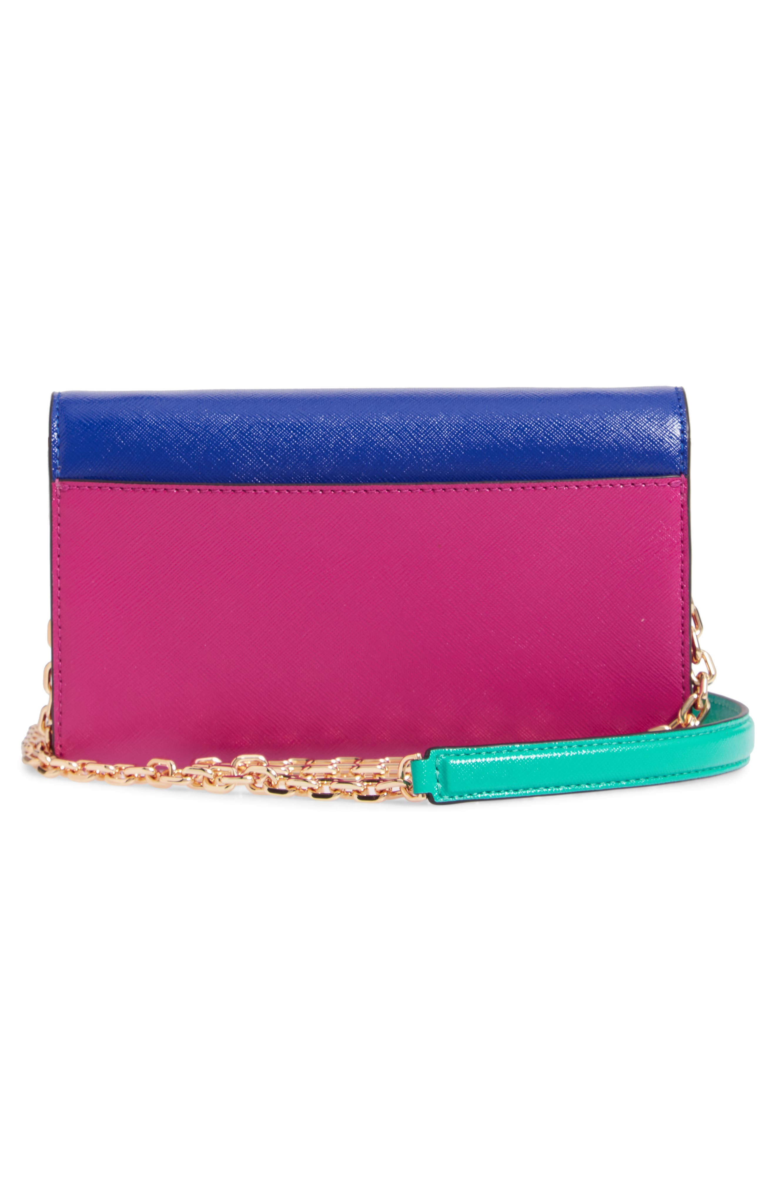 Snapshot Leather Wallet on a Chain,                             Alternate thumbnail 3, color,                             ACADEMY BLUE MULTI