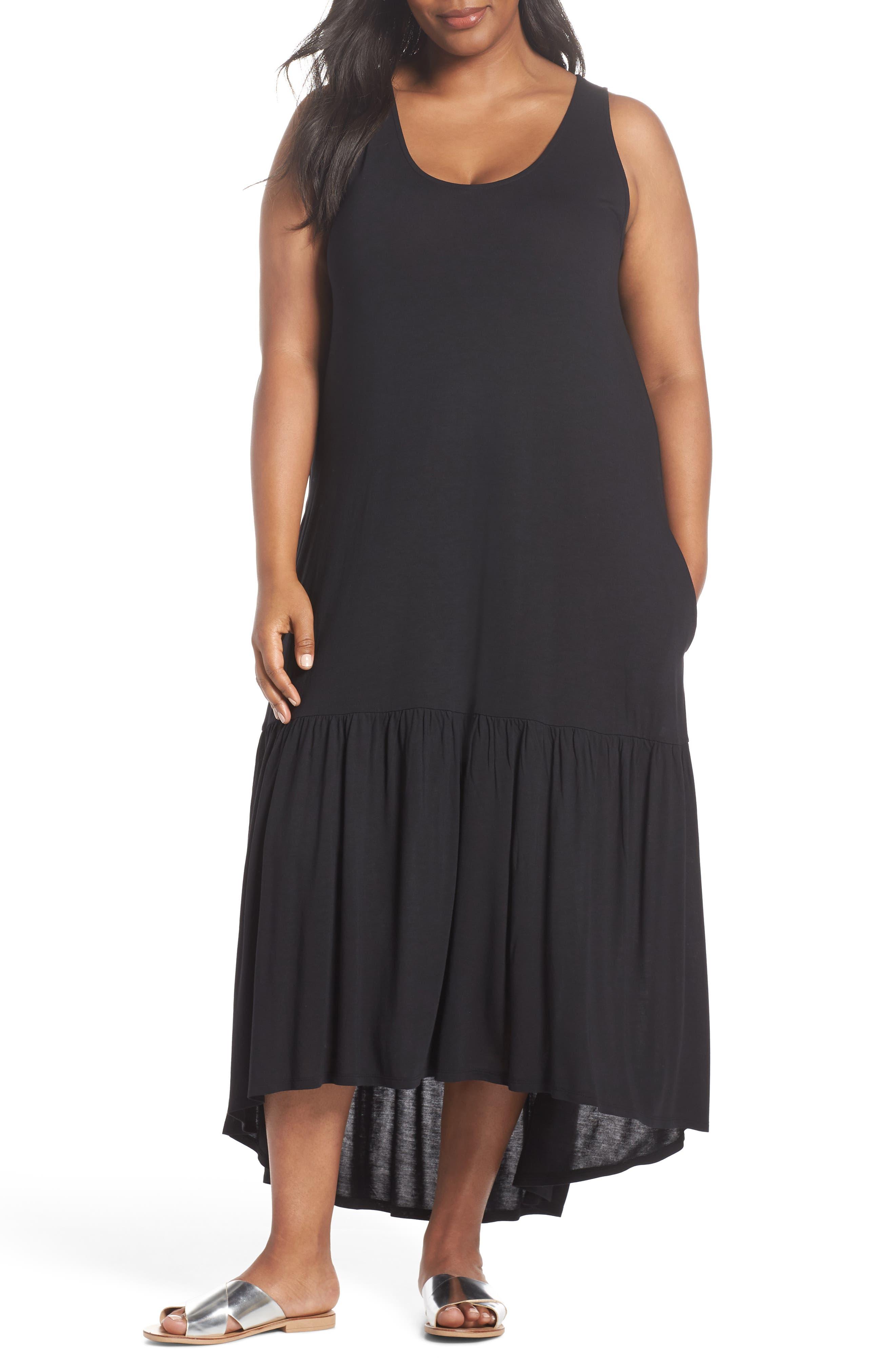 Sleeveless High/Low Knit Maxi Dress,                             Main thumbnail 1, color,                             001