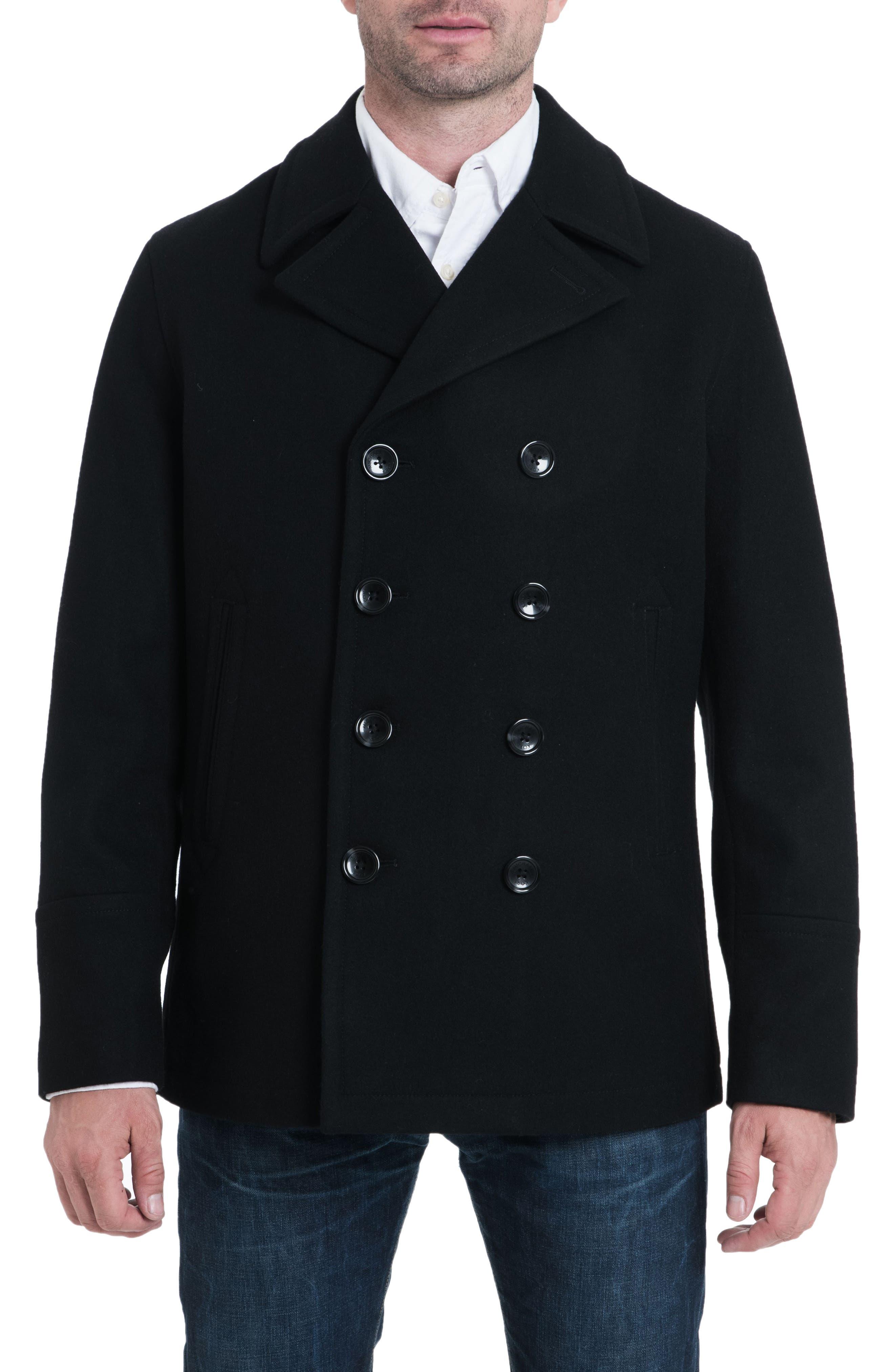 Wool Blend Peacoat,                         Main,                         color, 001