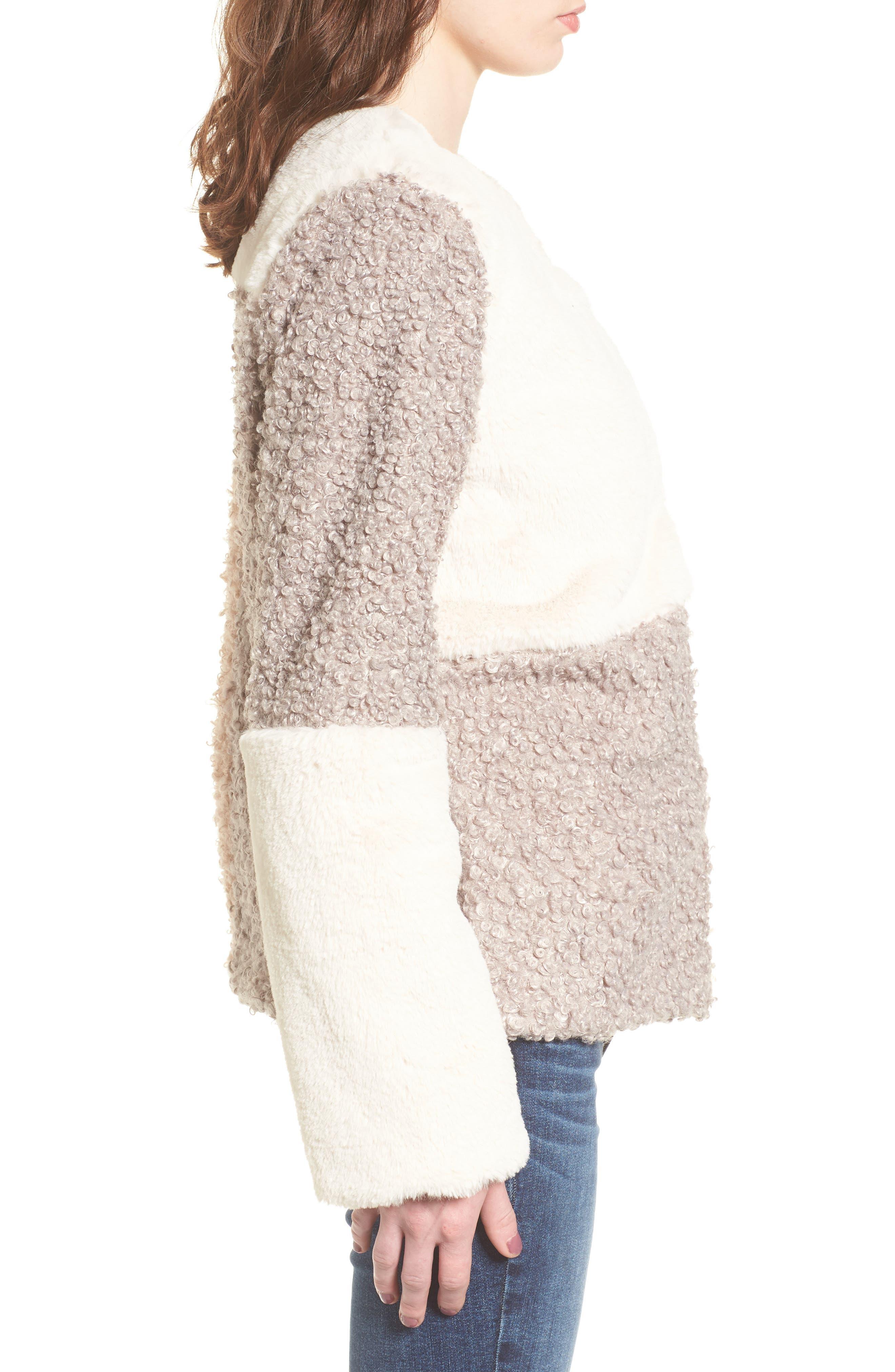 Patchwork Faux Fur Coat,                             Alternate thumbnail 3, color,