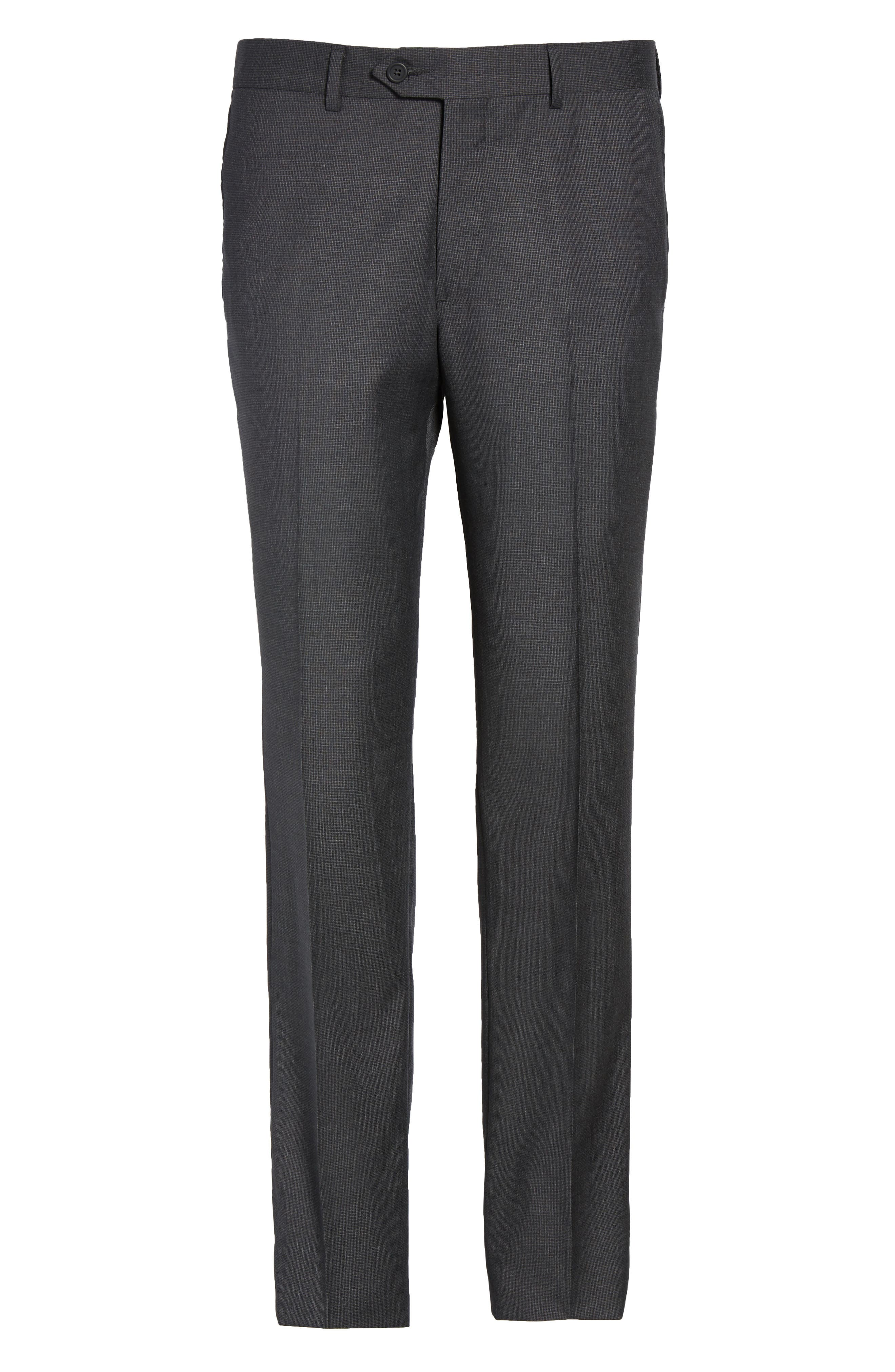 Flat Front Solid Wool Suit Trousers,                             Alternate thumbnail 6, color,                             099